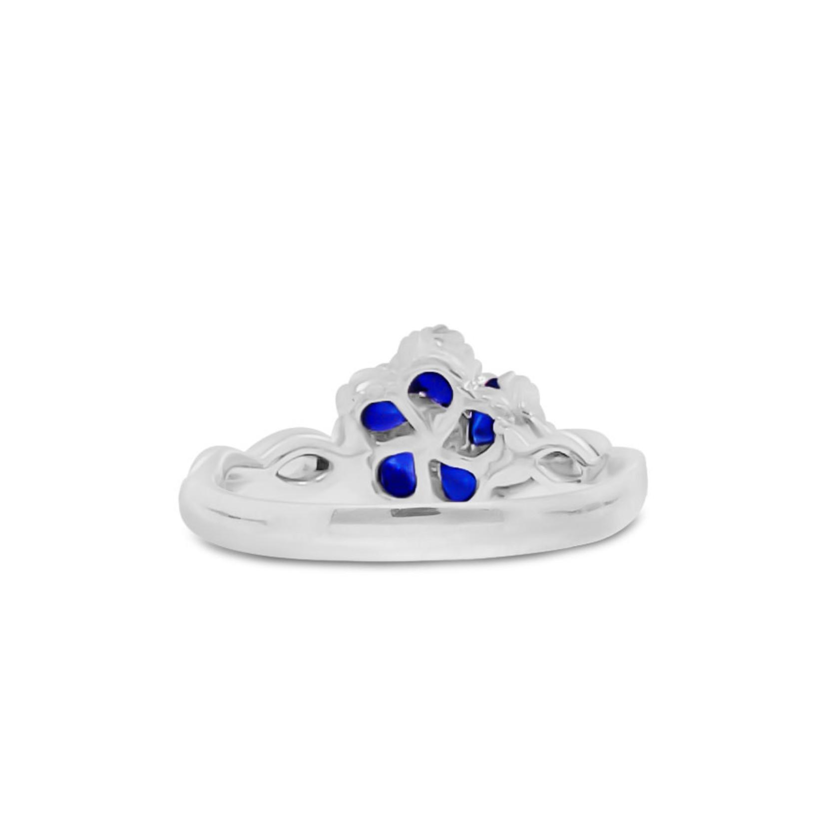 18KW Dia/Saph Flower Ring Di .15ct, Saph .85ct