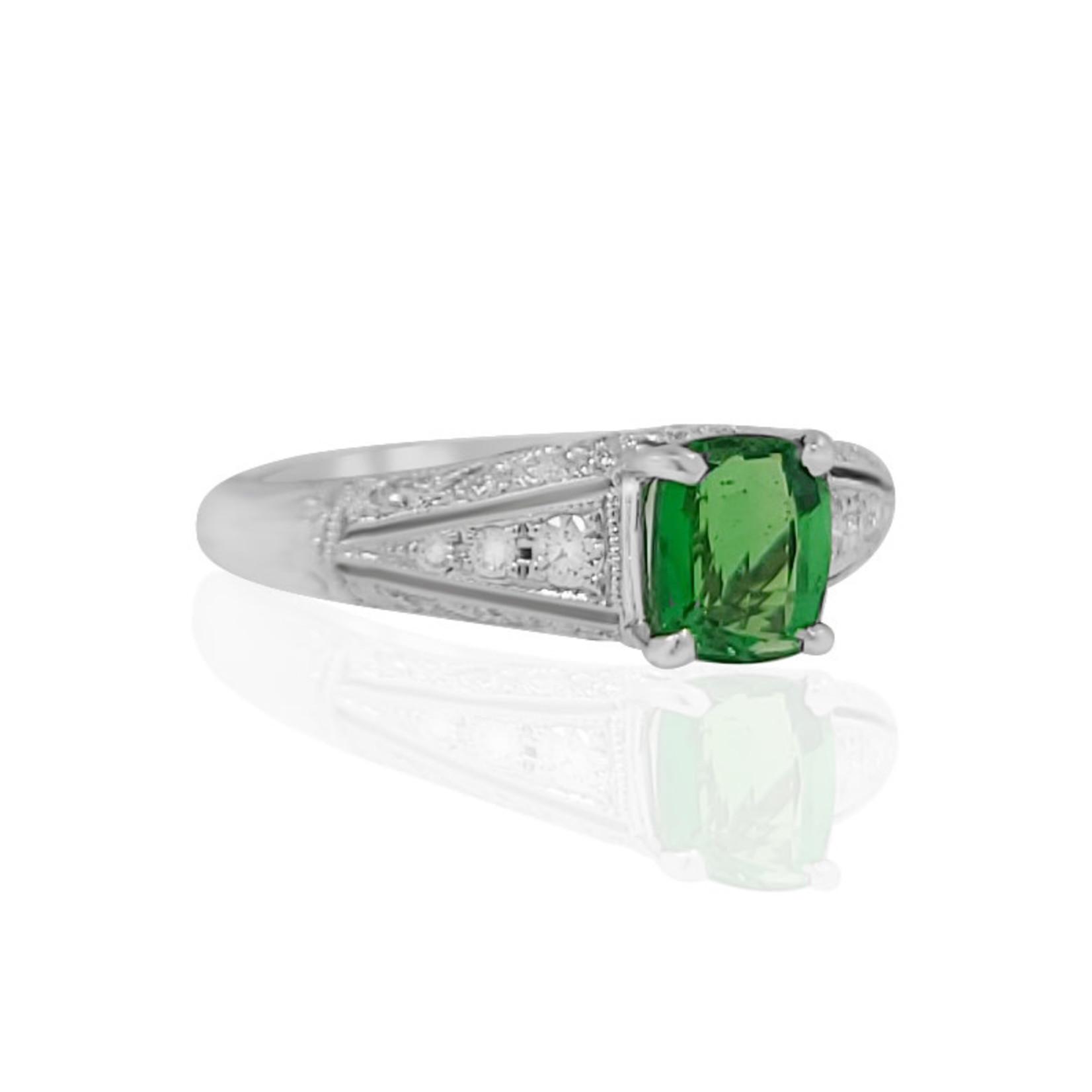 18K Filigree Tsavorite & Diamond Ring