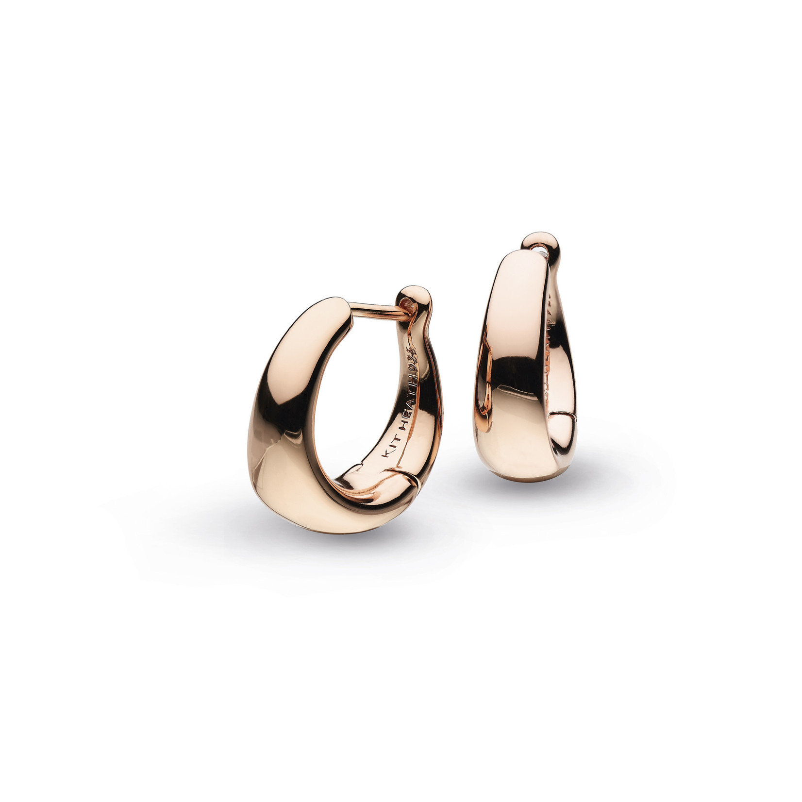 Sterling Silver Bevel Cirque Small Hinged Rose Gold Hoop Earrings