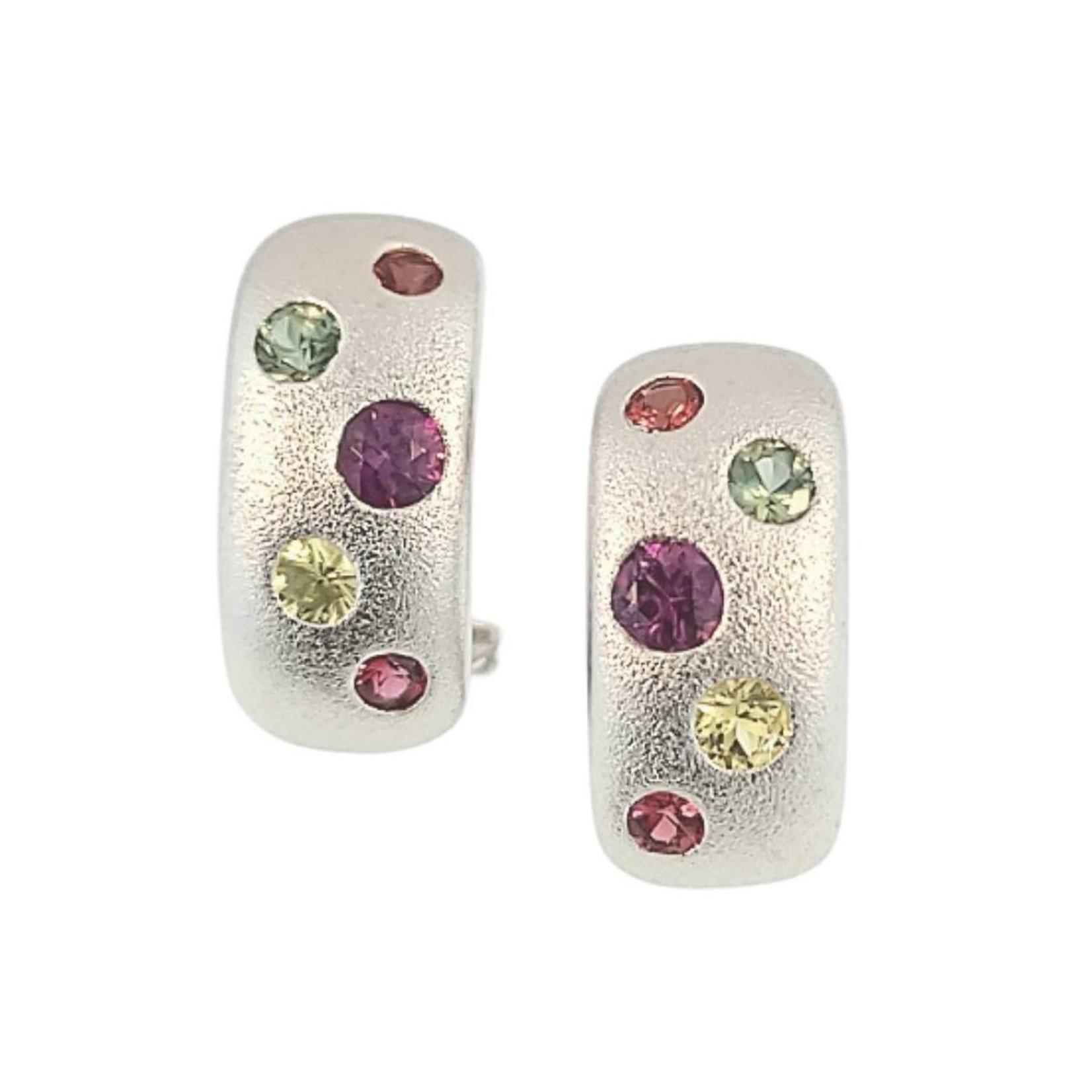 Silver Rainbow Sapphire Earrings