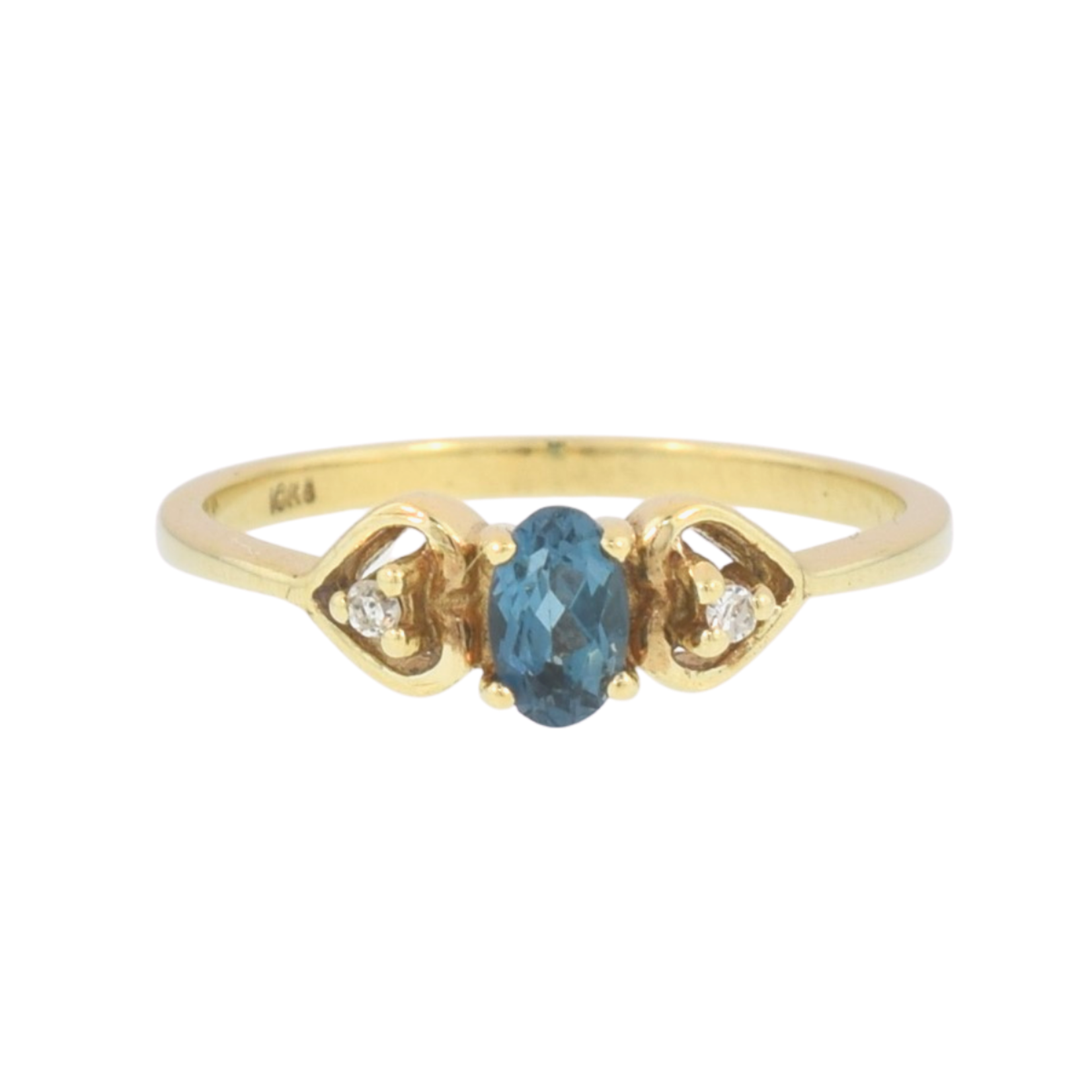 Estate/ 10KY/ Heart Design/ Oval Blue Stone/ 2 Dia