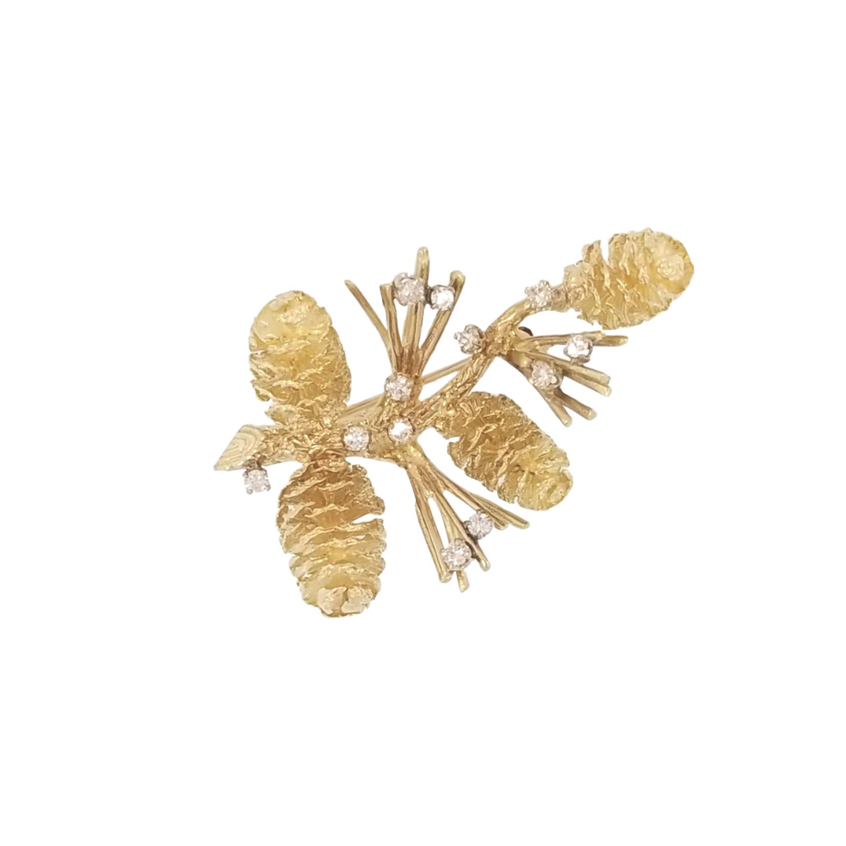 Estate Gold & Diamond Pinecone Brooch