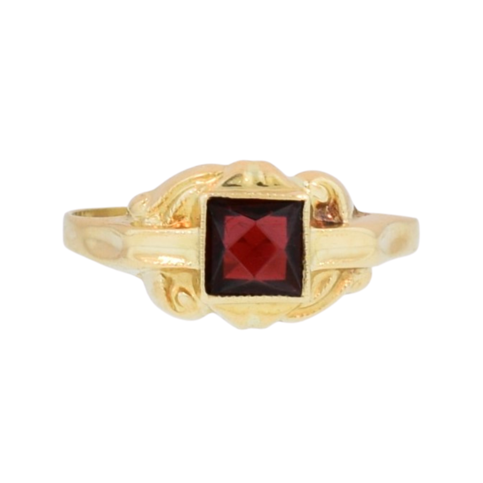 Estate Childs Gold Ring with Red Stone
