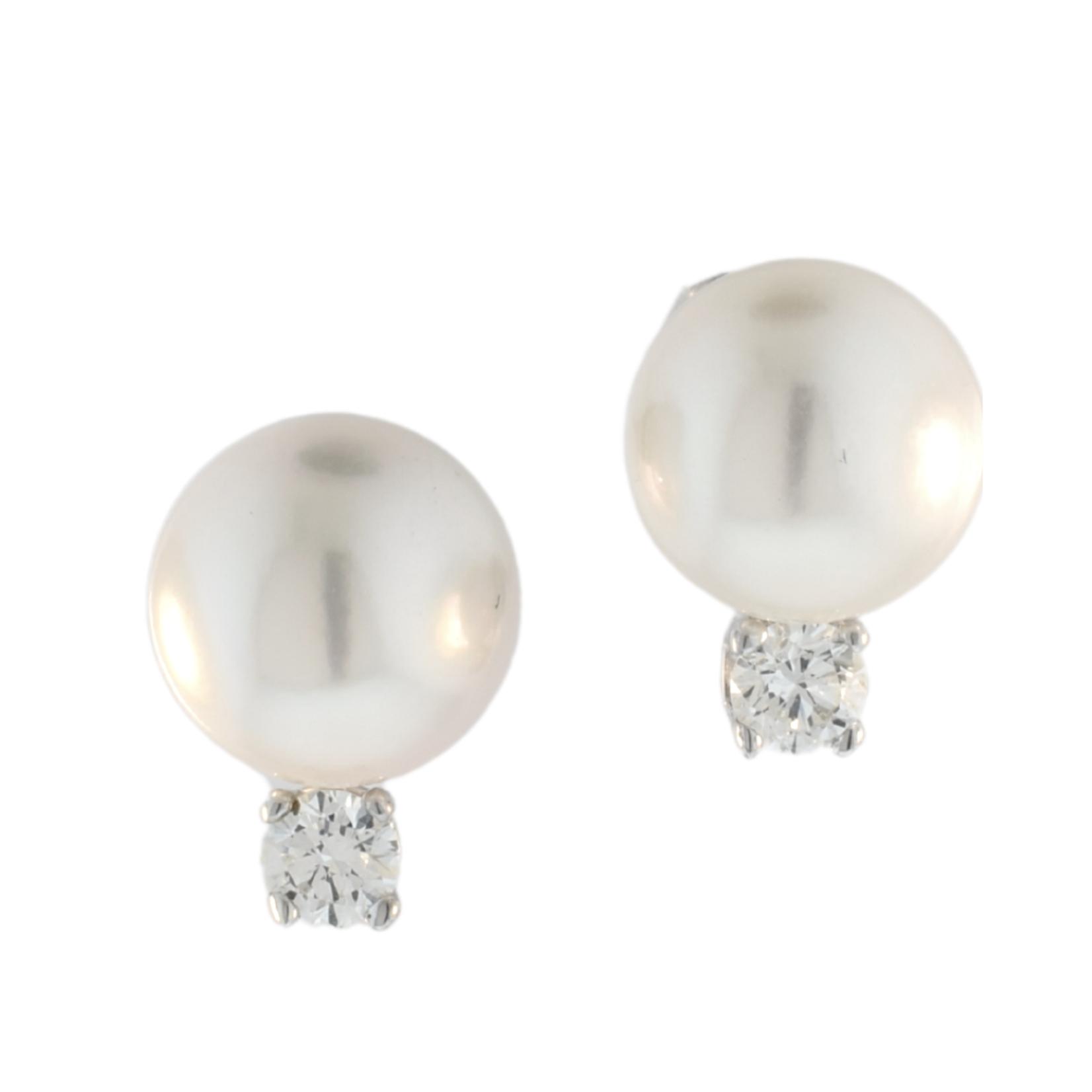 8mm Pearl and Diamond Earrings