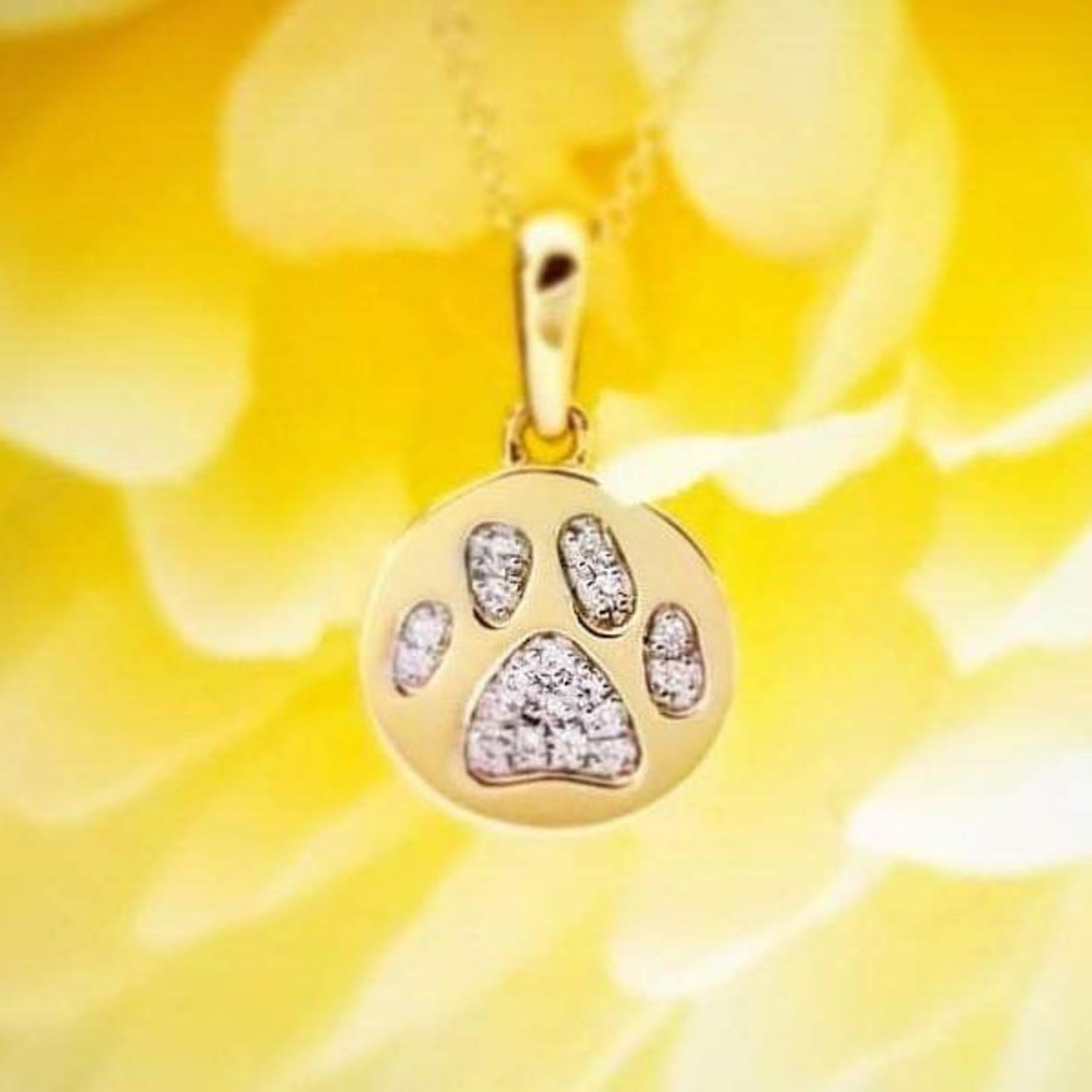 Pavé Diamond Paw Print Pendant