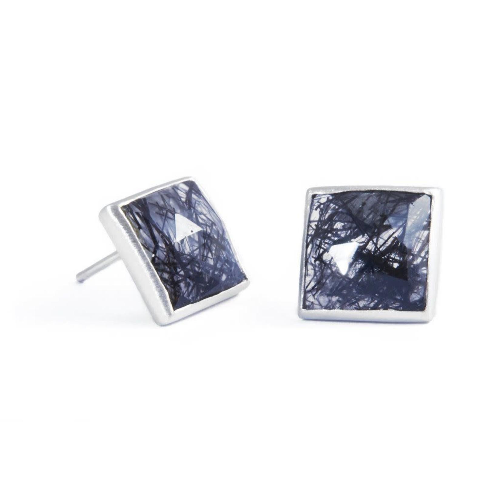 Sterling Square Rut Qtz Stud Earring