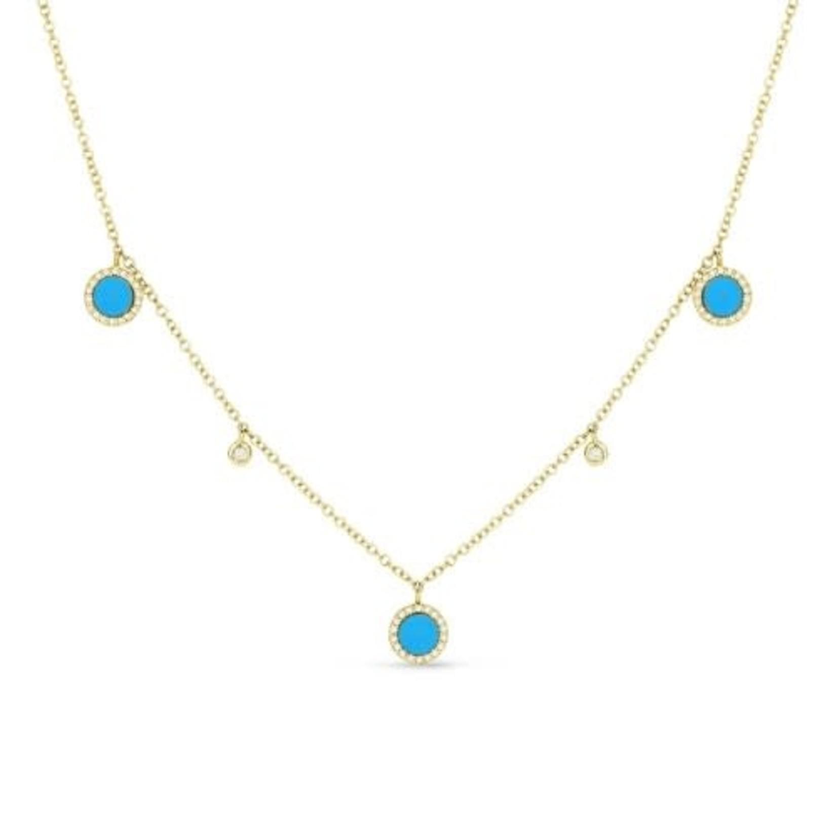 Gold Diamond & Turquoise Station Necklace