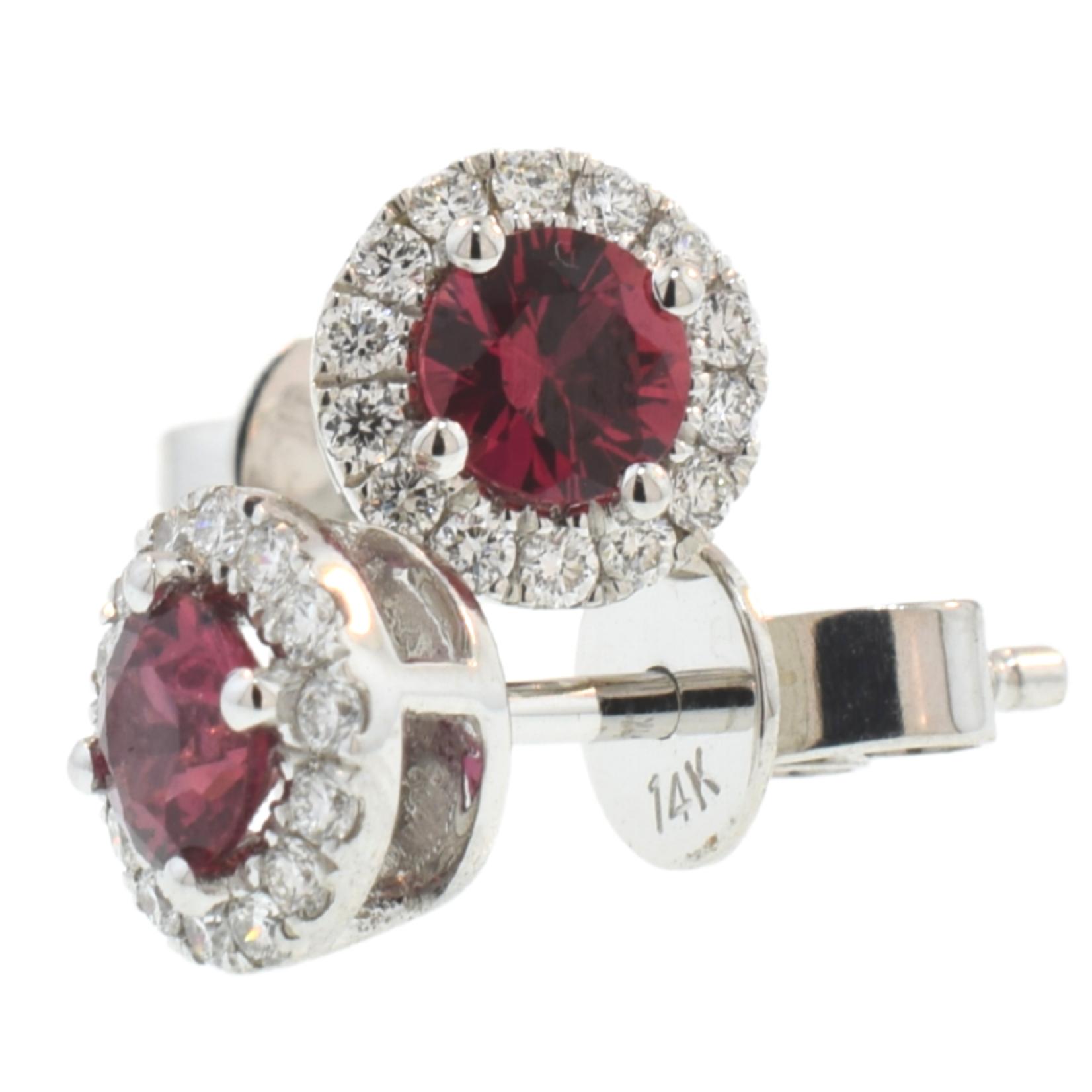 Ruby & Diamond Halo Stud Earrings