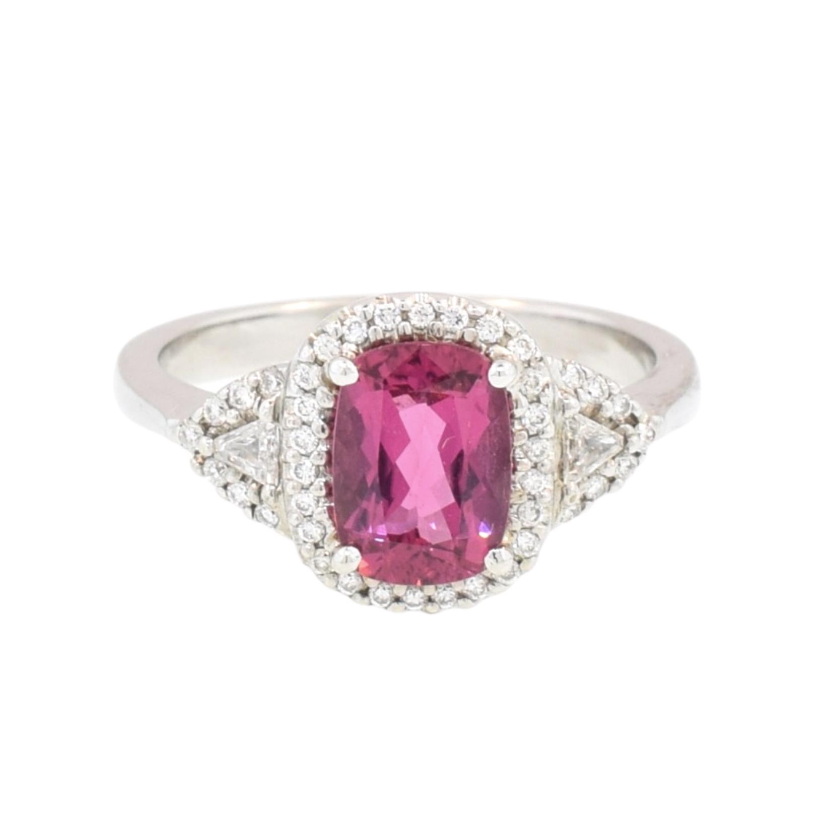 Rubelite Tourmaline and Diamond Ring