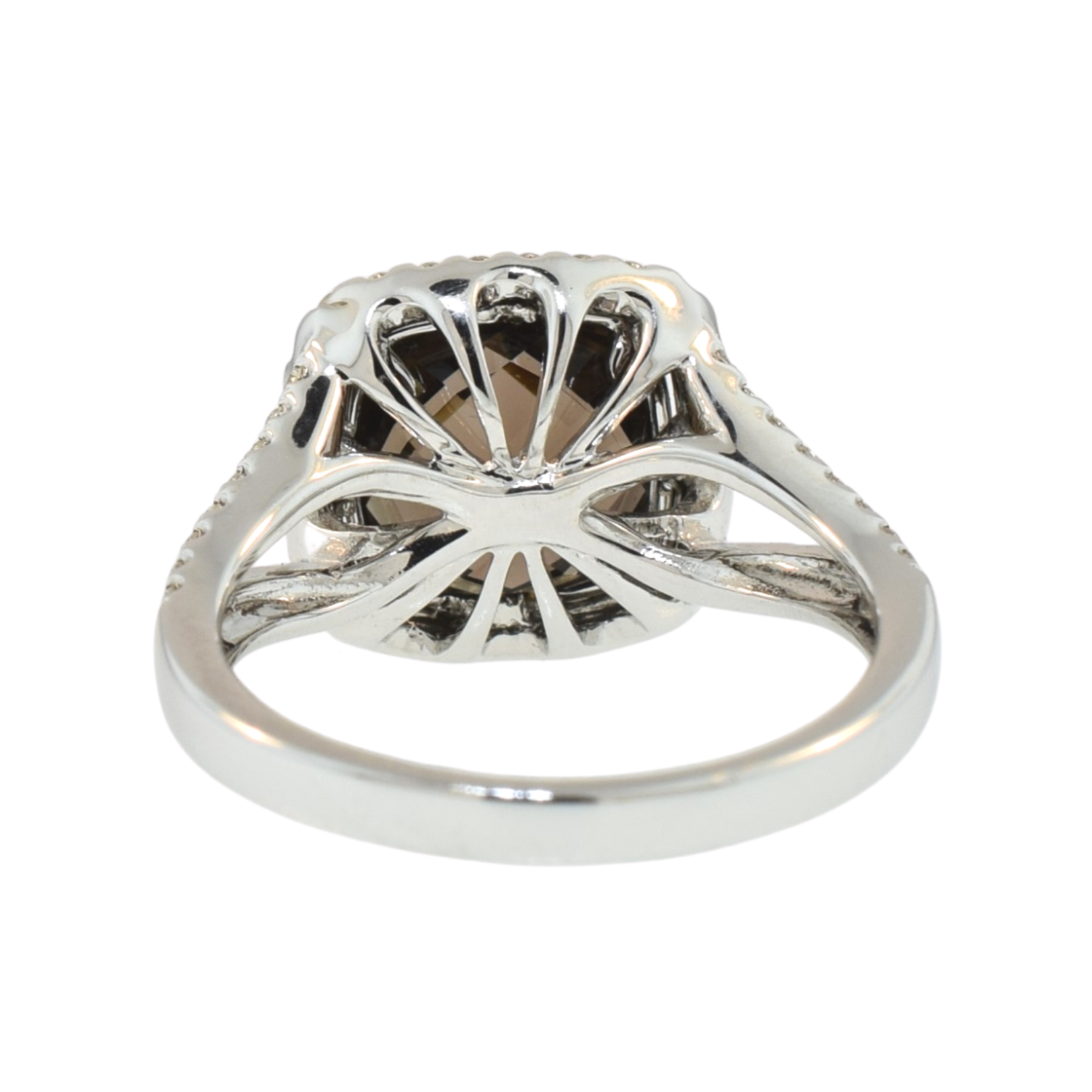 Smoky Quartz and Diamond Split Shank Ring