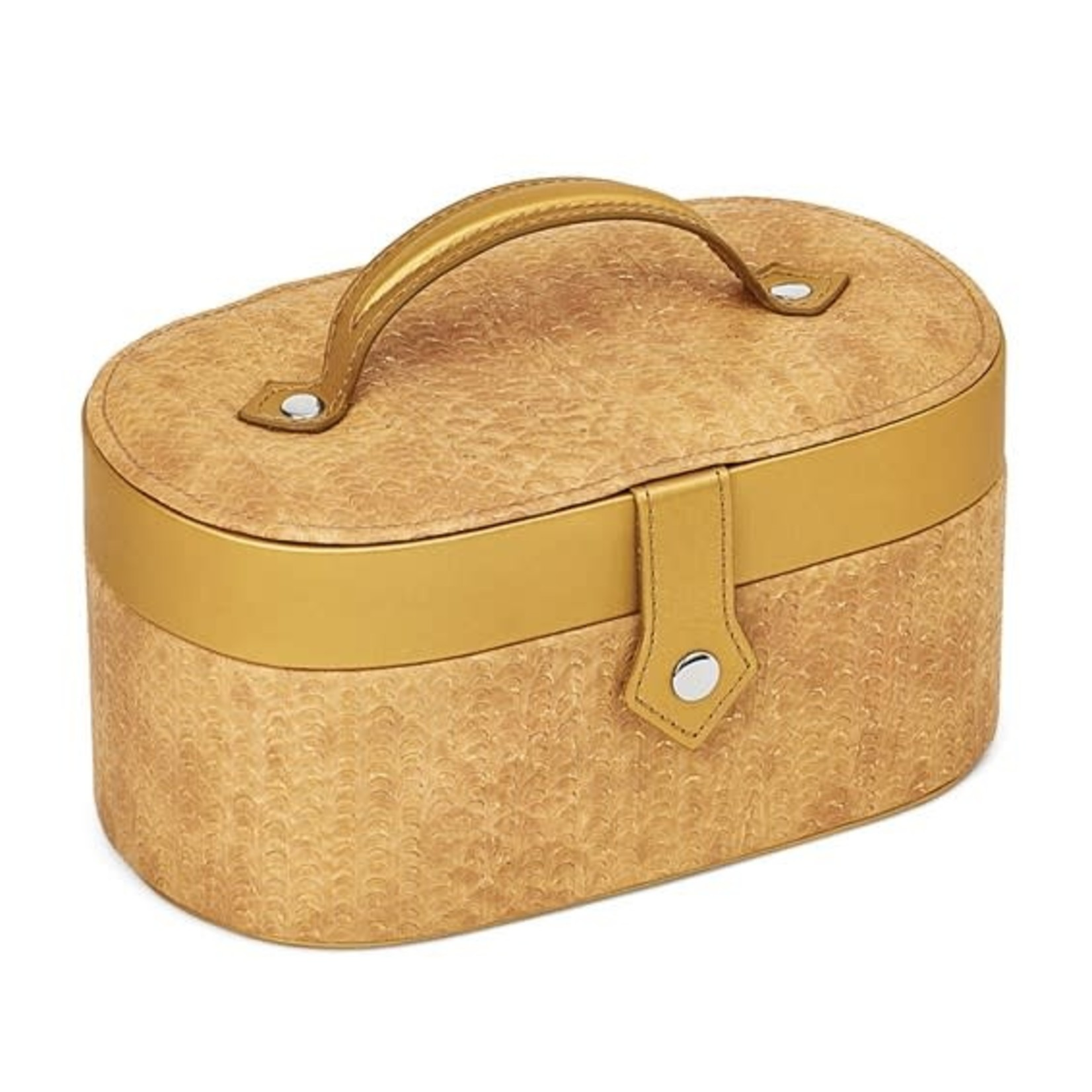 Gold Textured Pattern Oval Jewelry Case