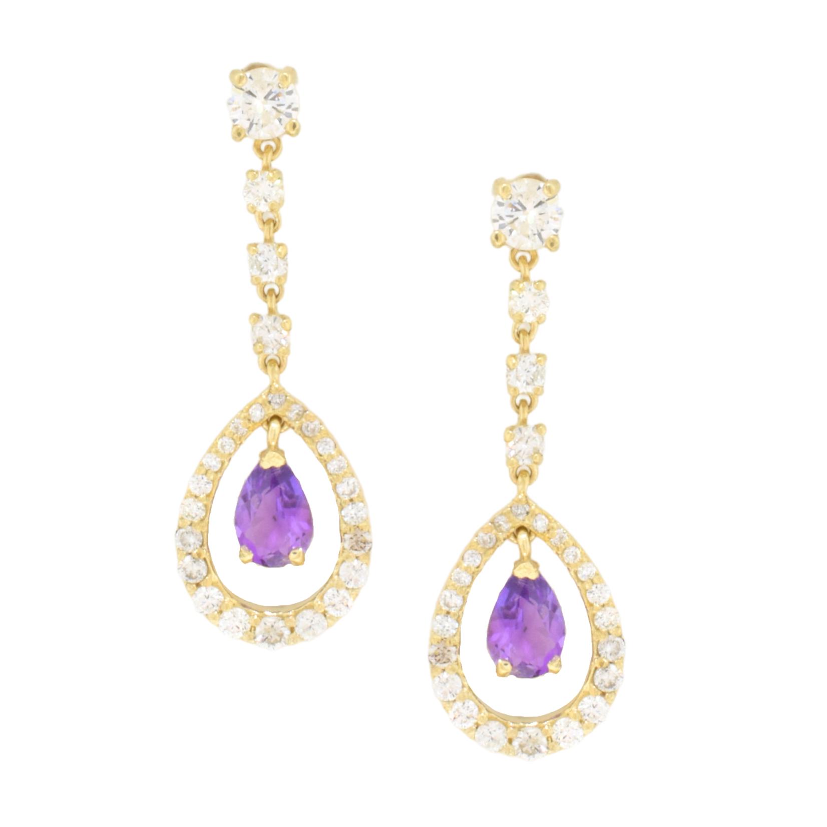 Amethyst and Diamond Teardrop Earrings