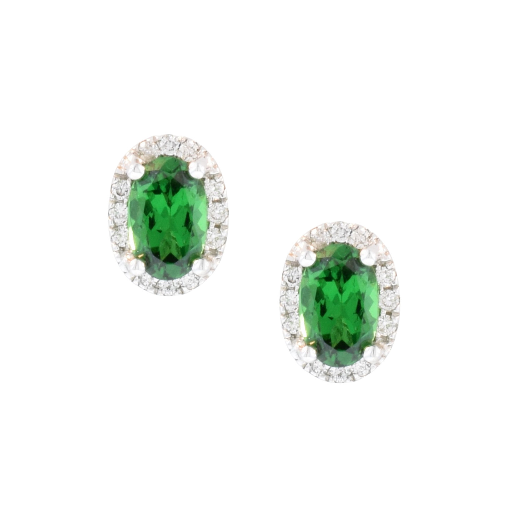 Tsavorite Garnet and Diamond Halo Stud Earrings