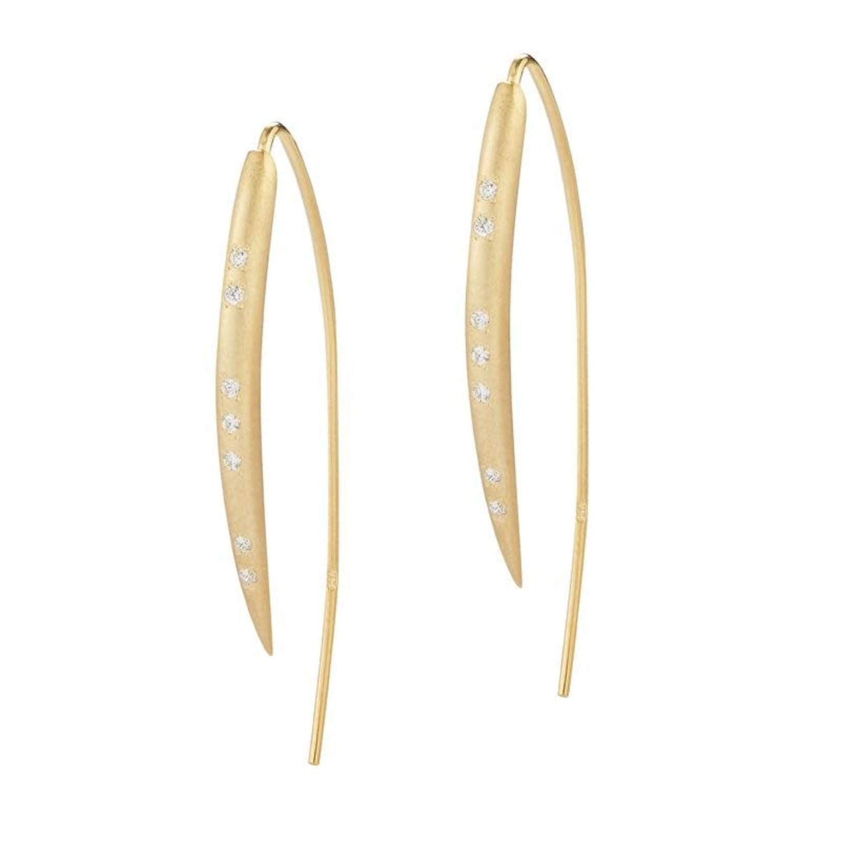 14KY satin wire hook Earrings 0.15