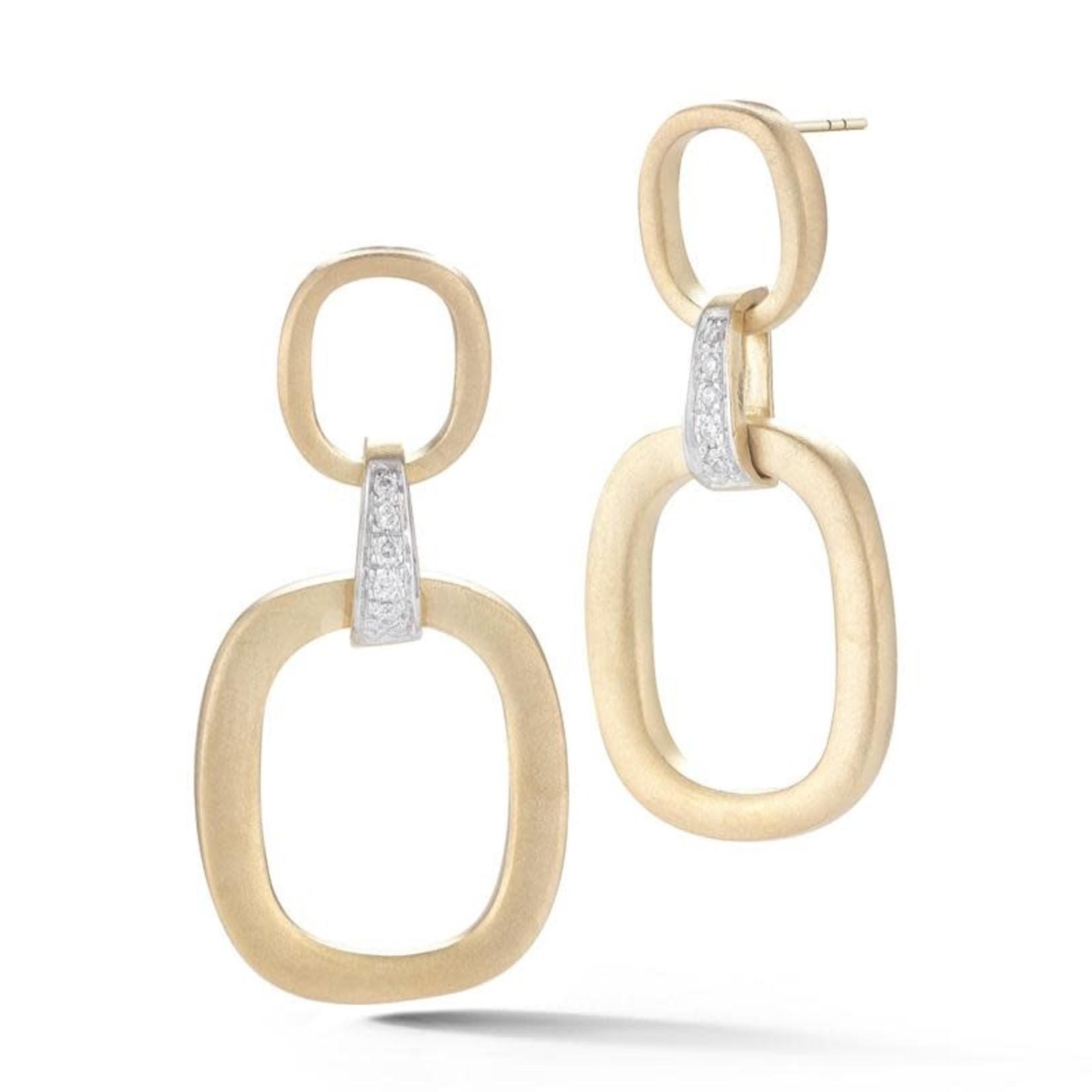 14KY satin dangl Earrings 0.10cttw