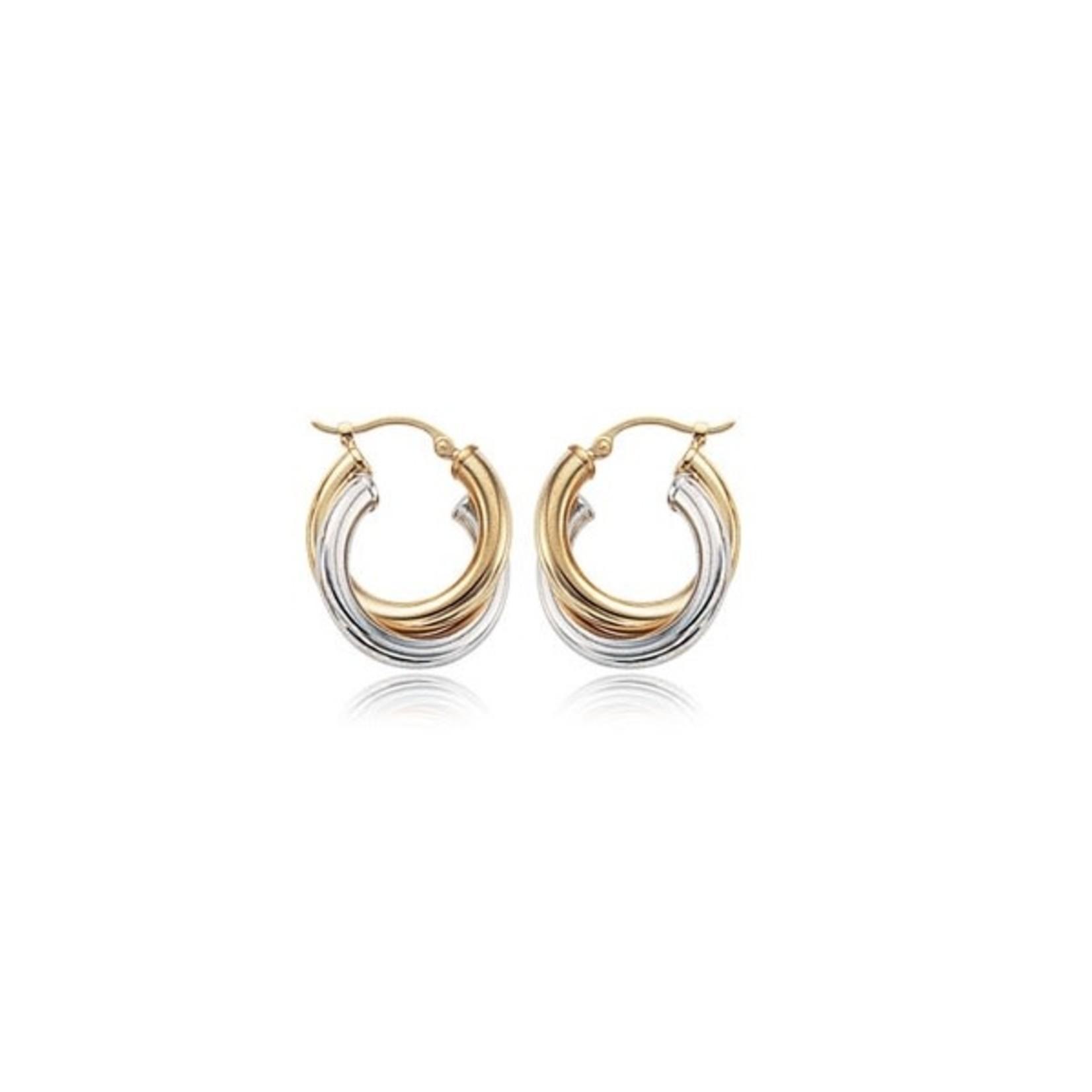 14K Two-Tone Hinged Hoop Earrings