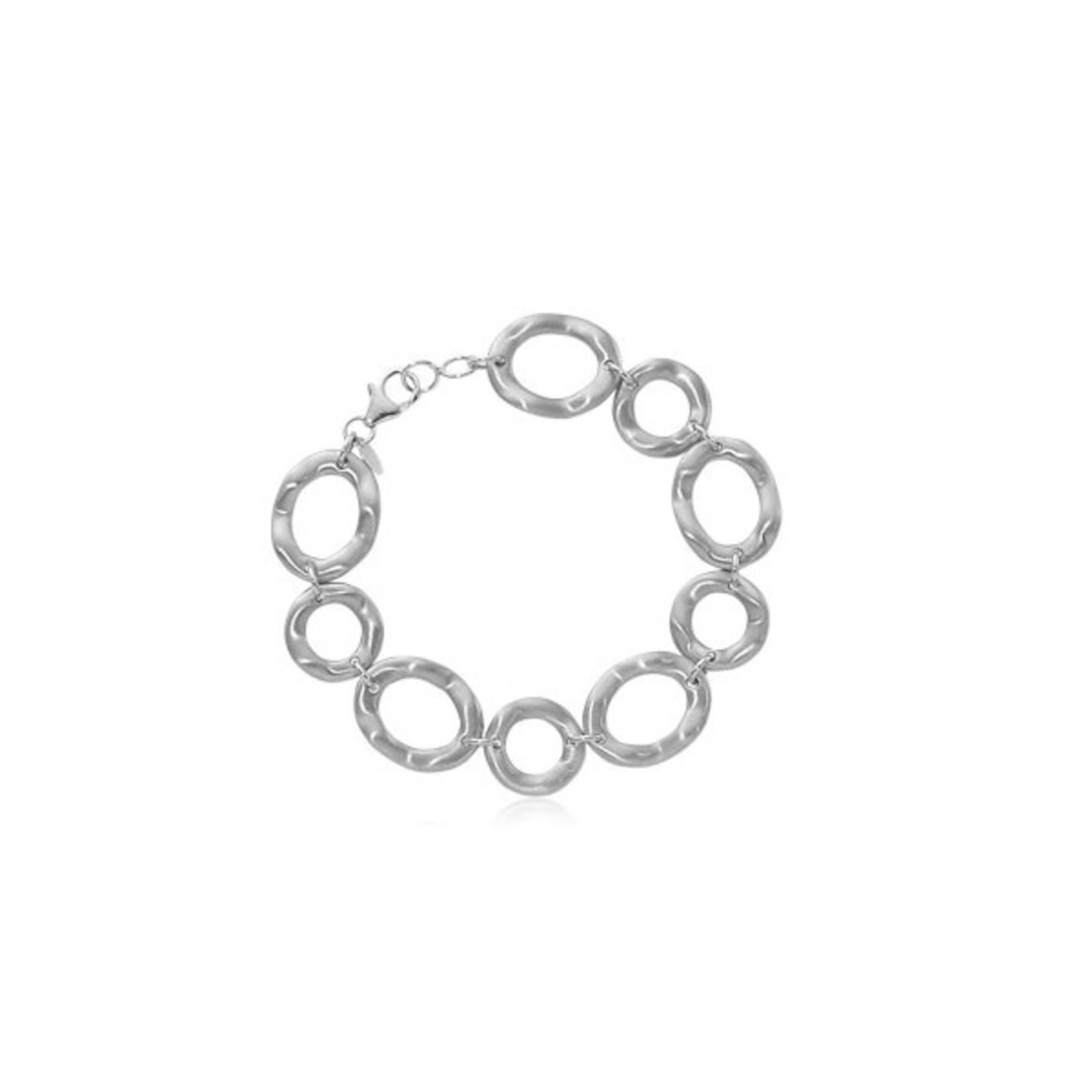 Silver Wavy Oval Bracelet
