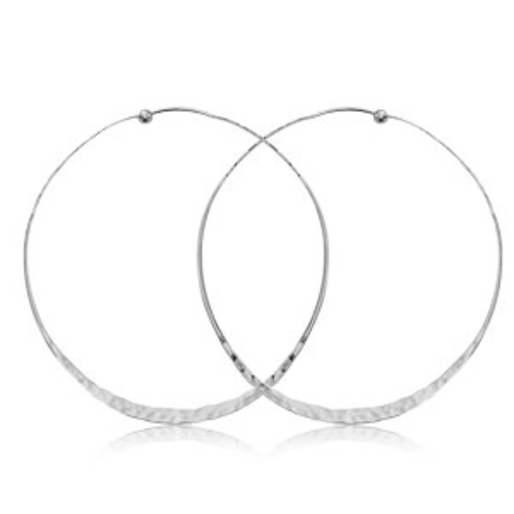 Silver Hammered Twisted XL Hoop Earring