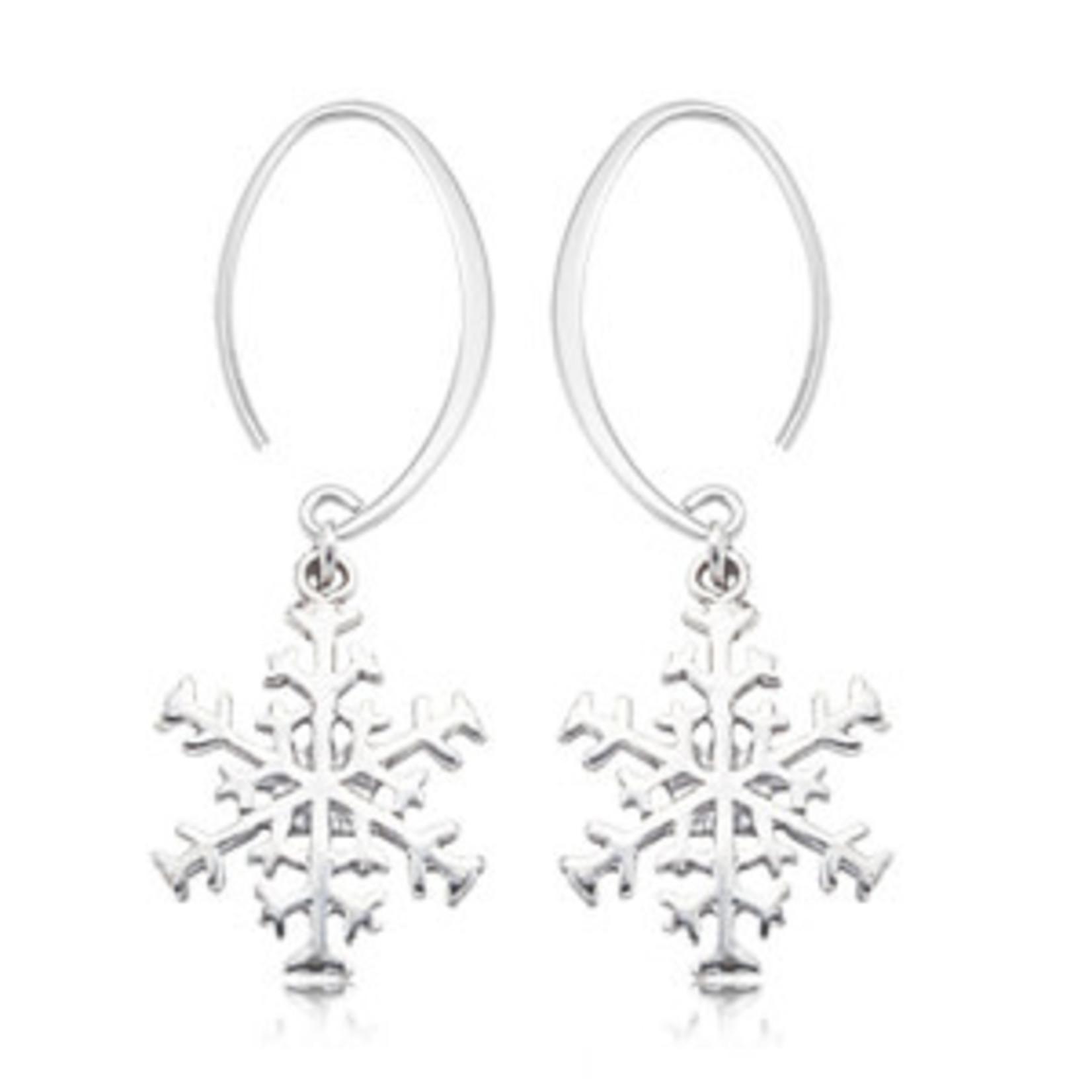 Silver Snowflake Drop Earring