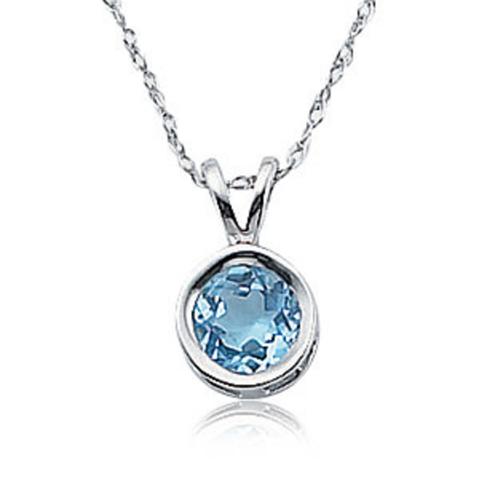 Silver Blue Topaz Bezel Pendant