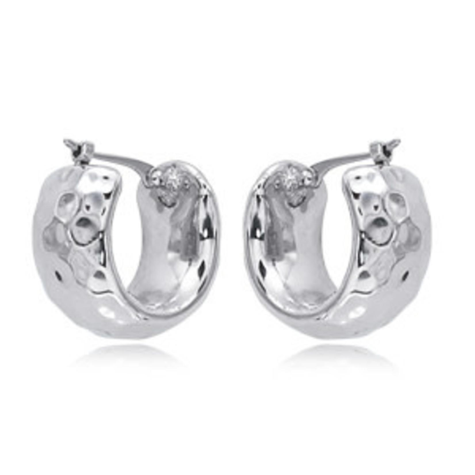 Silver Wide Hammered Hoop Earring