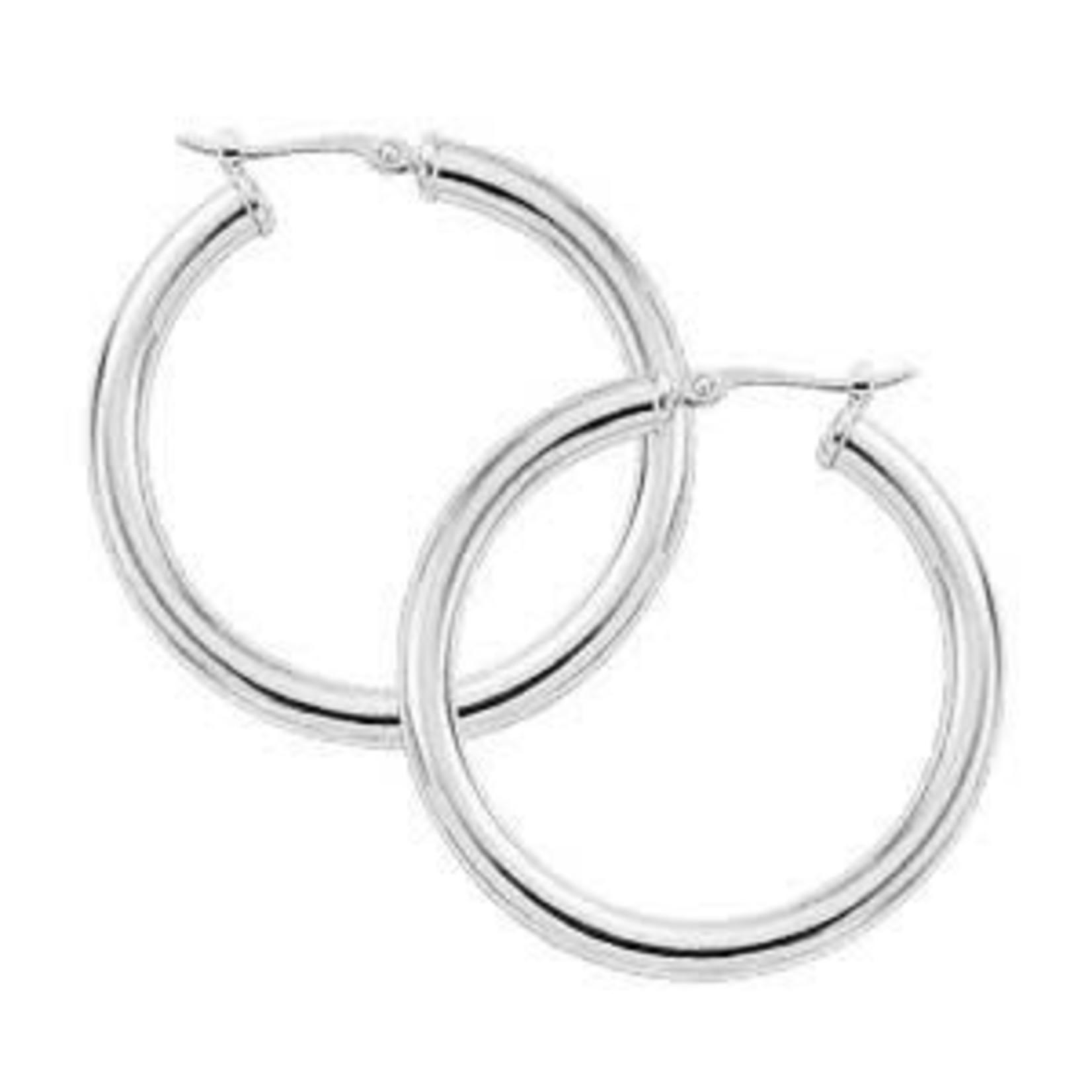 Silver Classic Medium Hoop Earring