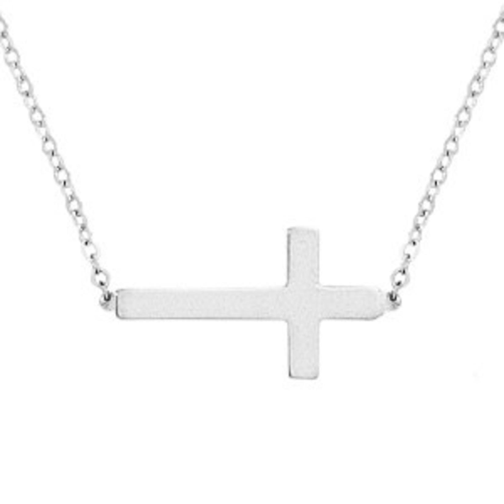 Silver Polished Sideways Cross Chain