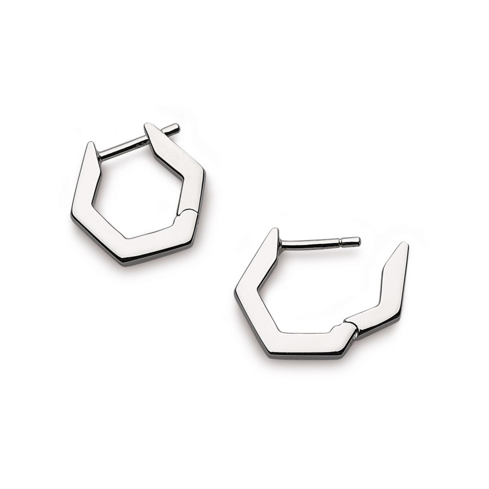 Sterling Silver Empire Manhattan Bar Hexagonal RP Hoop Ear