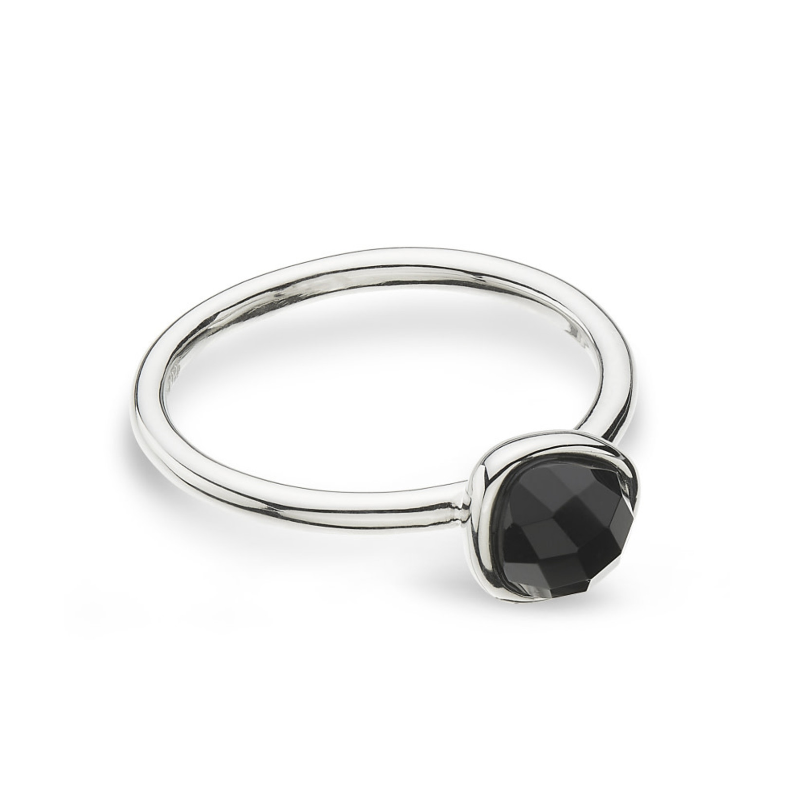 Sterling Silver KH Rg(US 7.5) Coast Pebble Black Agate Mini Rg