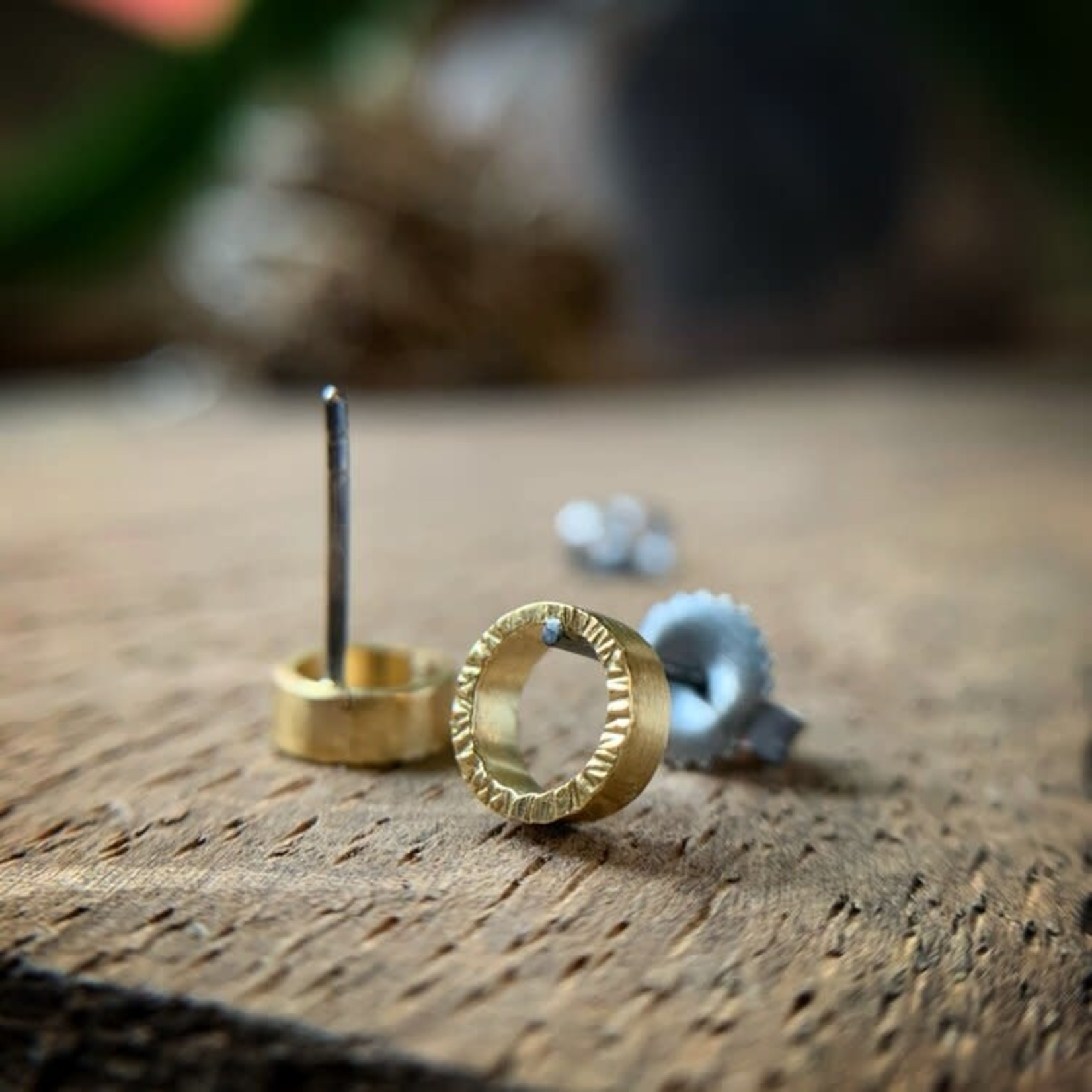 Hartley Studio Hammered Open Circle Earrings 18k Yellow Gold And Oxidized Sterling