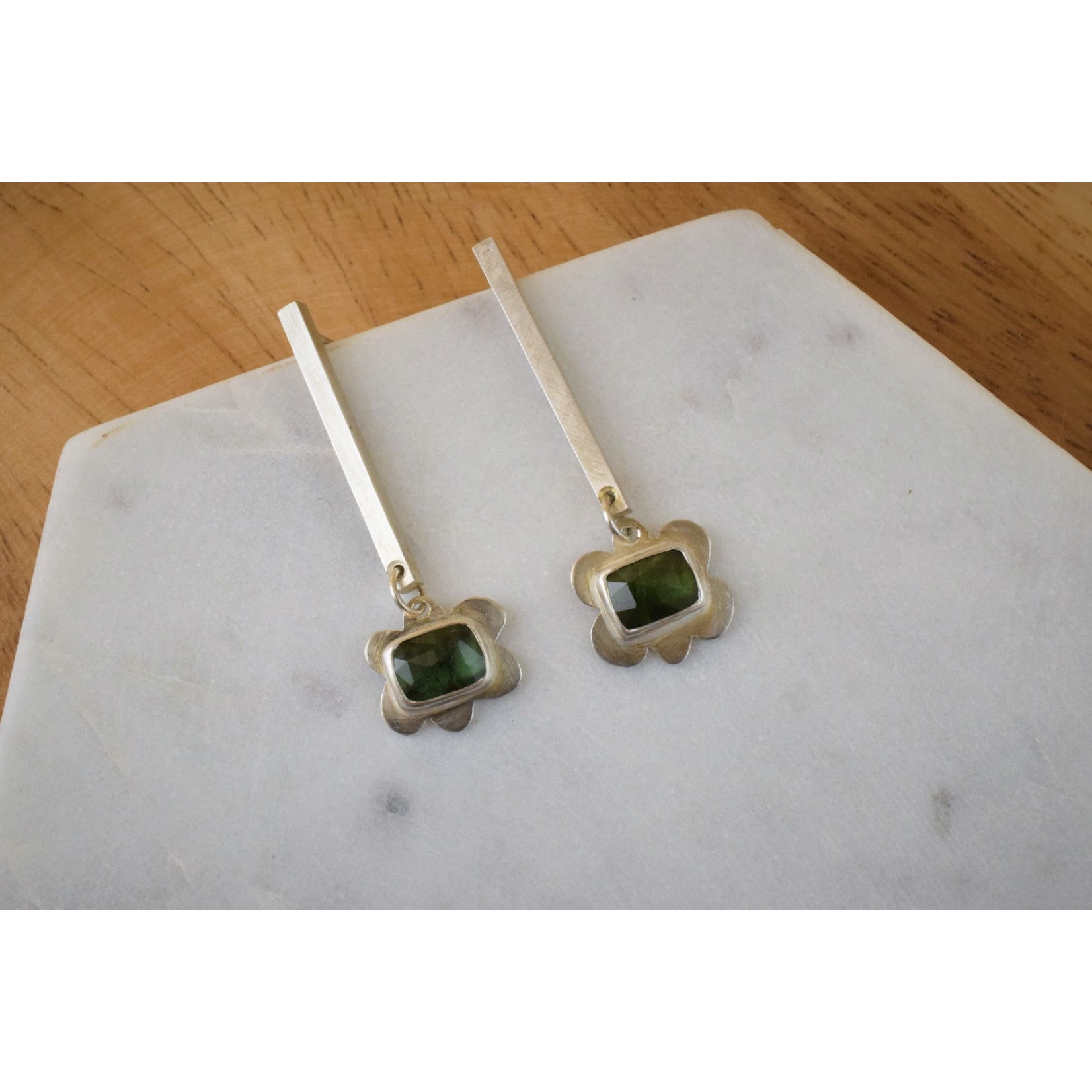 Hartley Studio Sterling Silver and Green Tourmaline Flower Earring