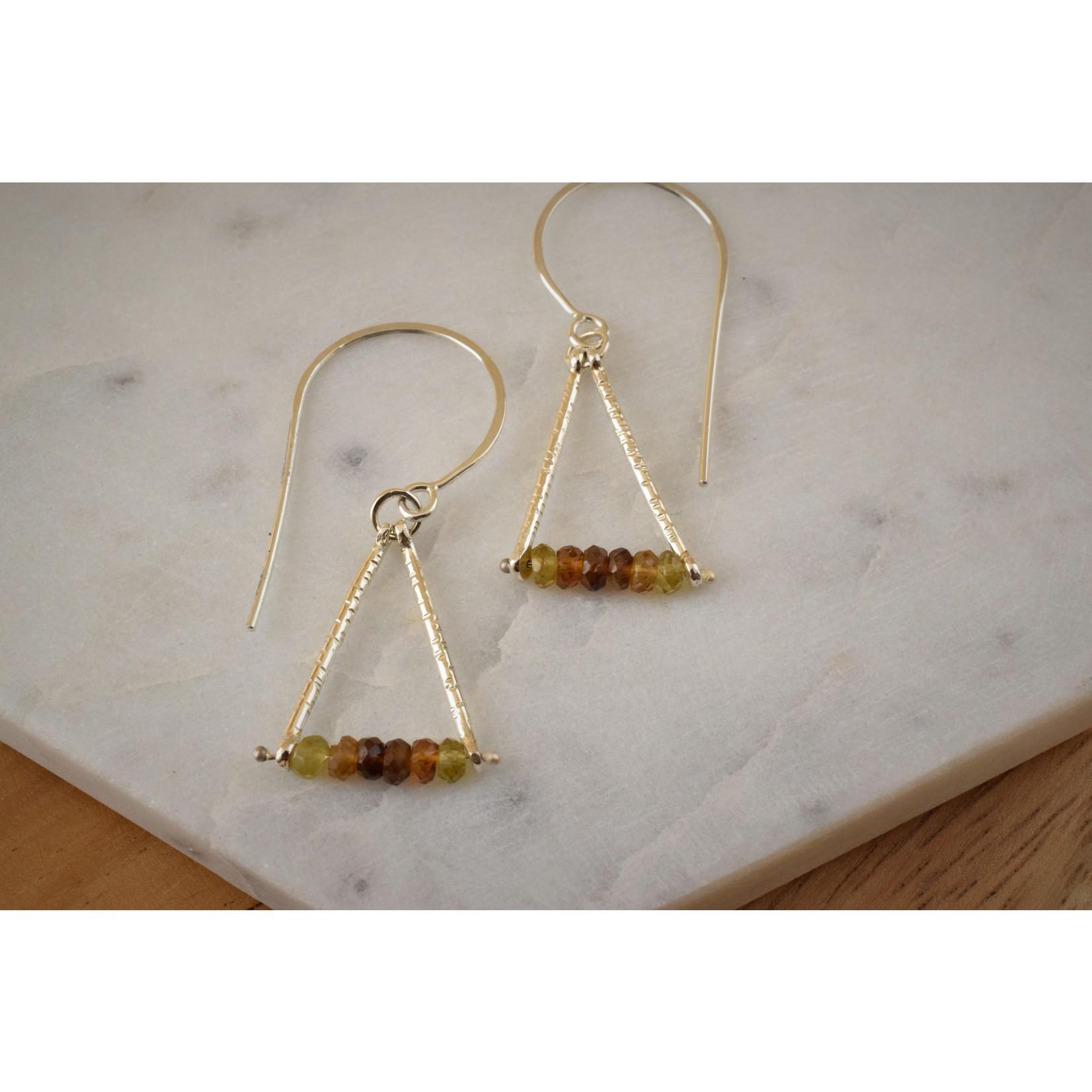 Hartley Studio Tourmaline Roundel Triangle Earrings