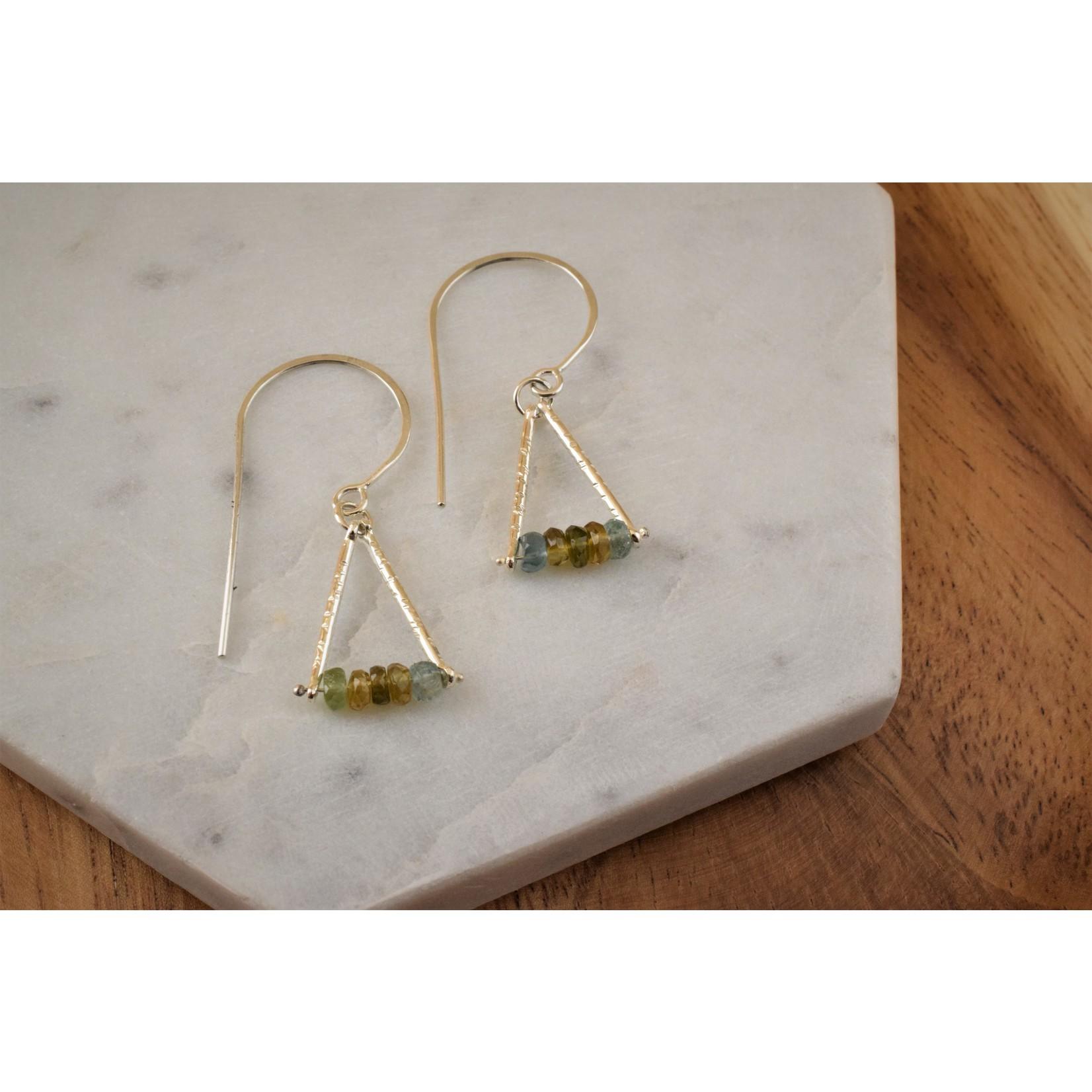 Hartley Studio Tourmaline Triangle Drop Earrings