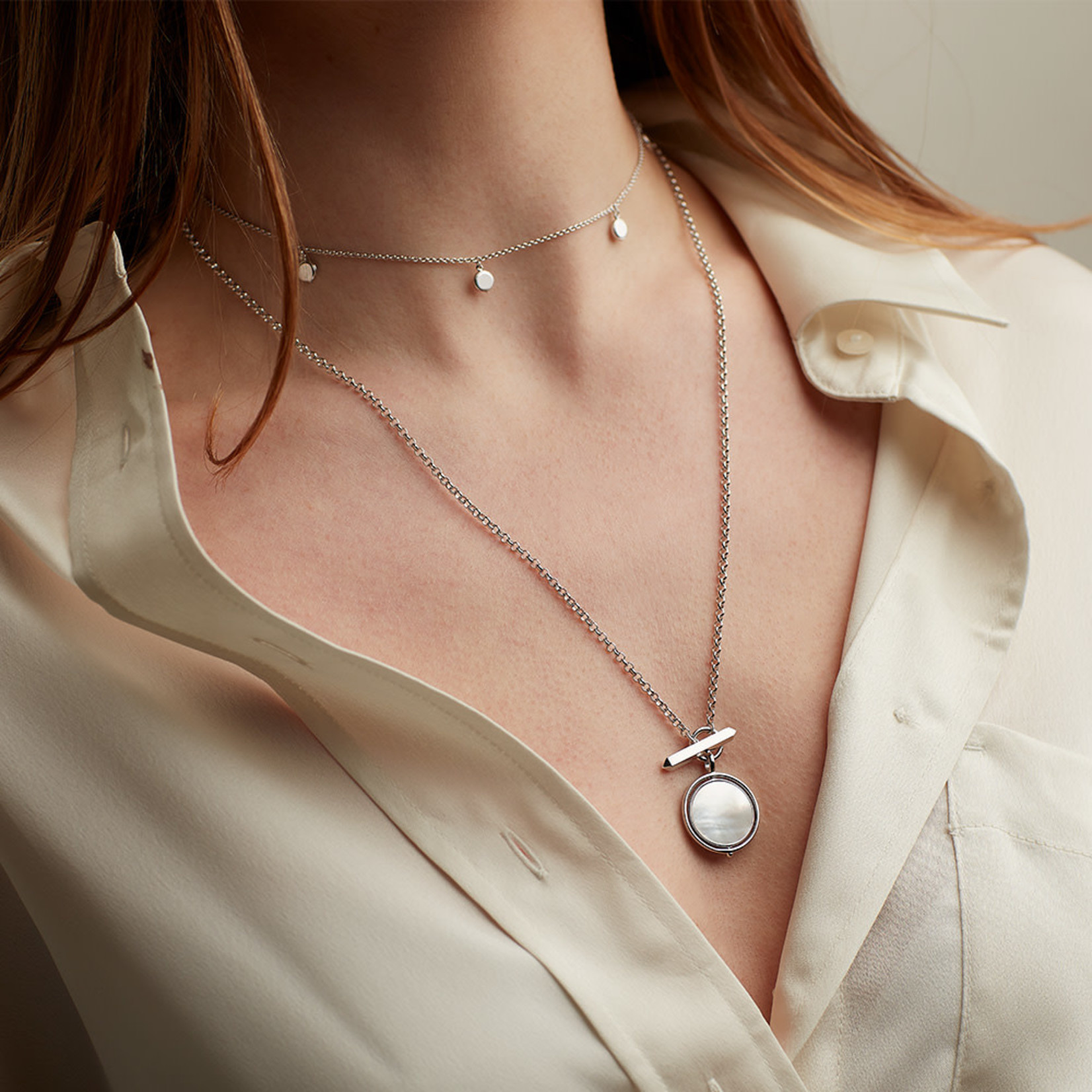Revival Eclipse Equinox Mother of Pearl T-Bar Style Spinner Necklace