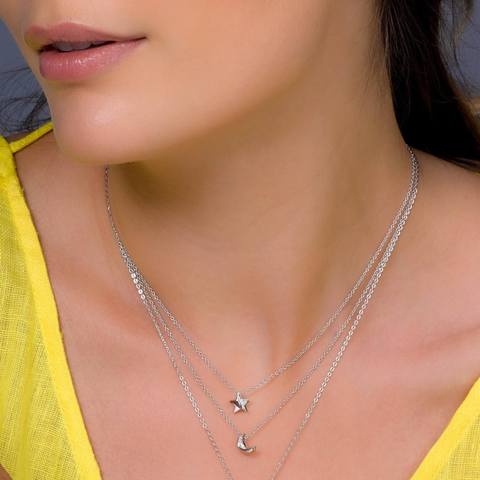 Miniature Sparkle CZ Mini Moon Necklace