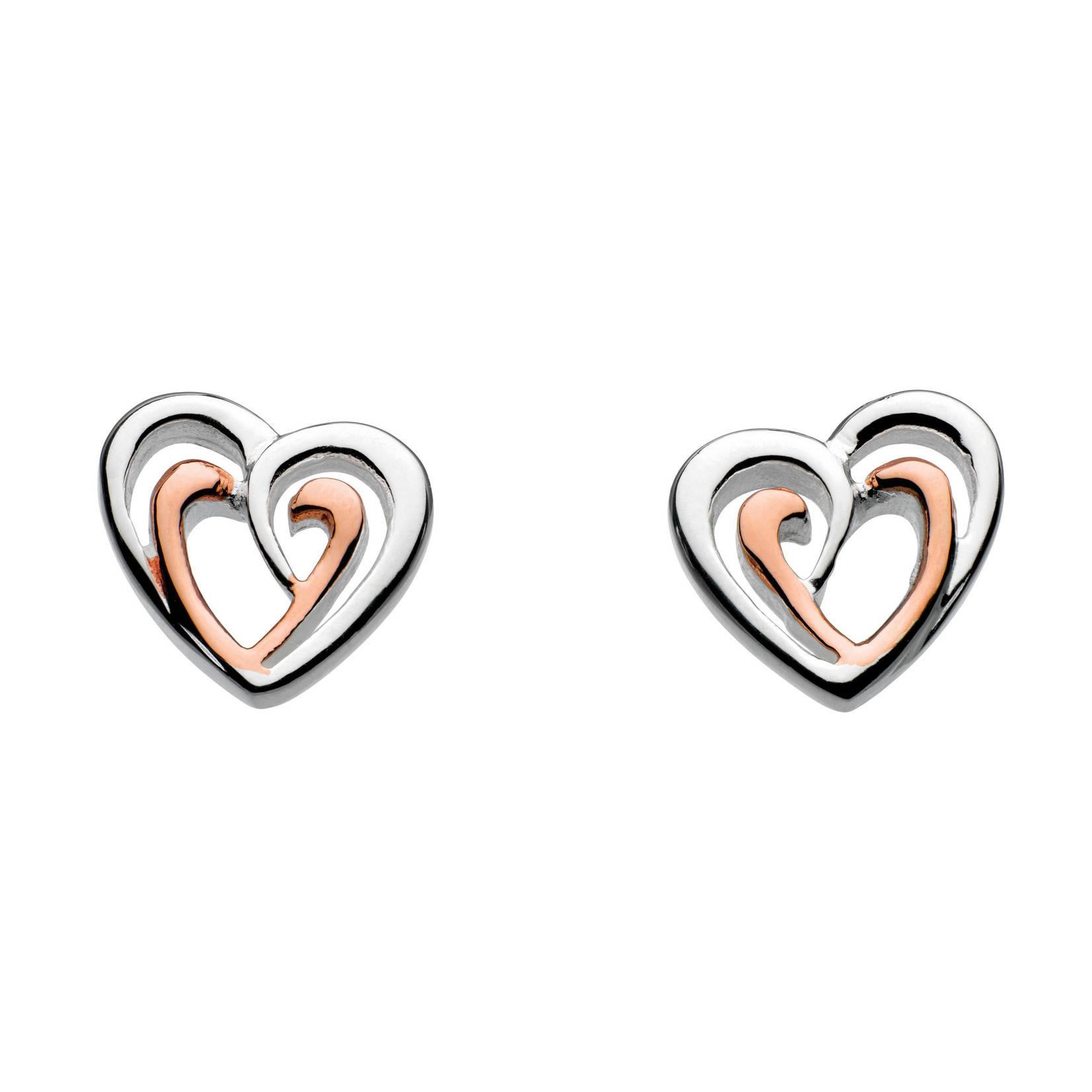 SS/Dew Amena Rose Gold Plated Double Heart Stud