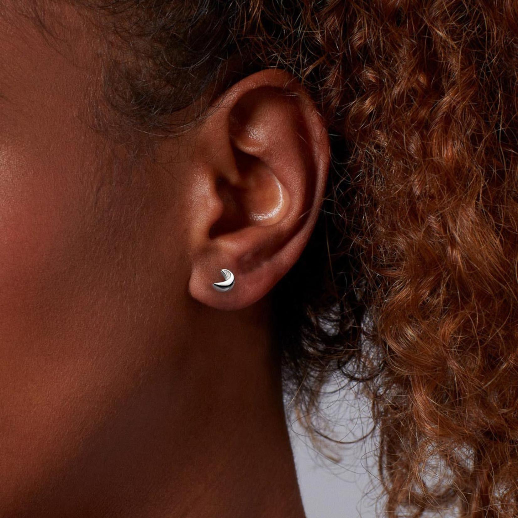 Miniature Sparkle CZ Mini Moon Stud Earrings