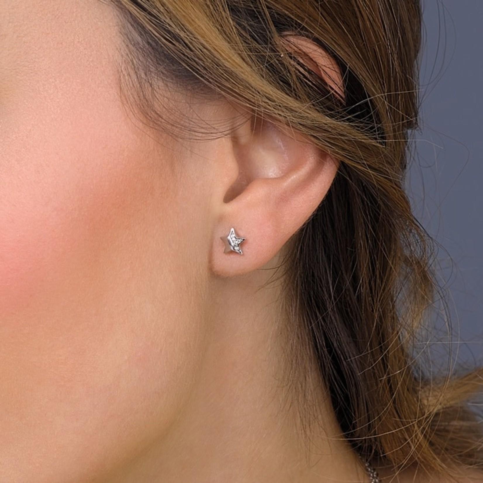 Miniature Sparkle RP CZ Shining Star Stud Earr