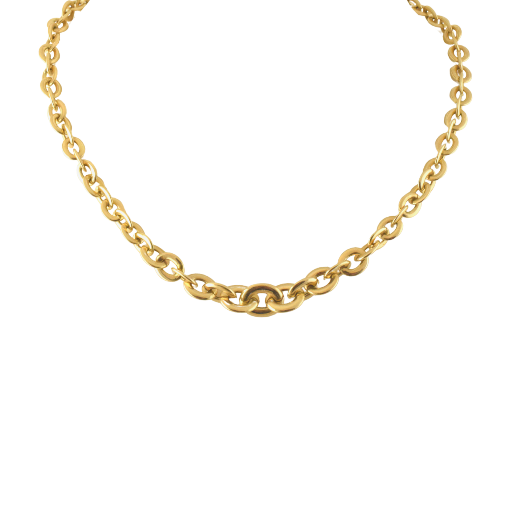 Graduated Gold Link Necklace