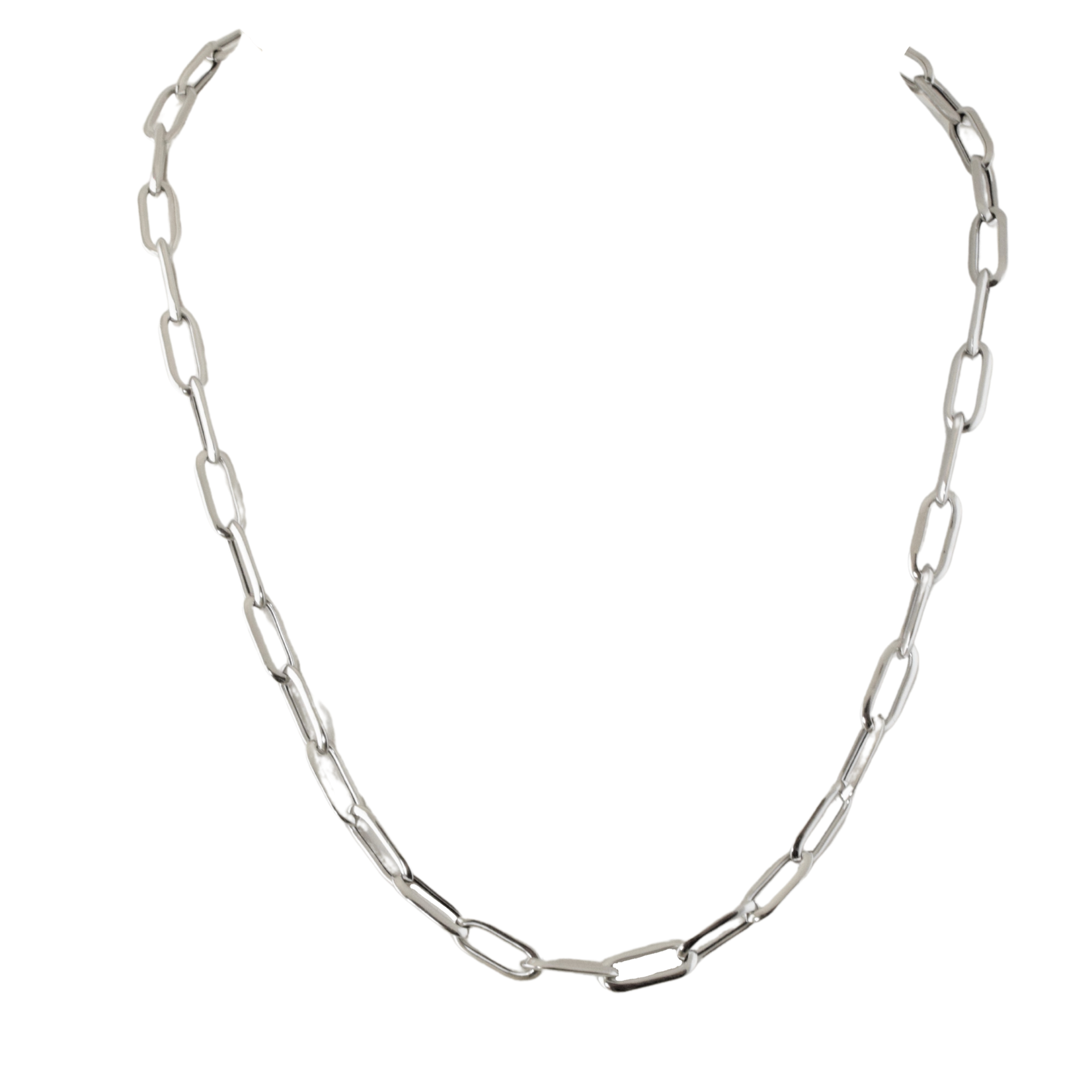 Sterling Silver Rounded Paperclip Chain 20 inches