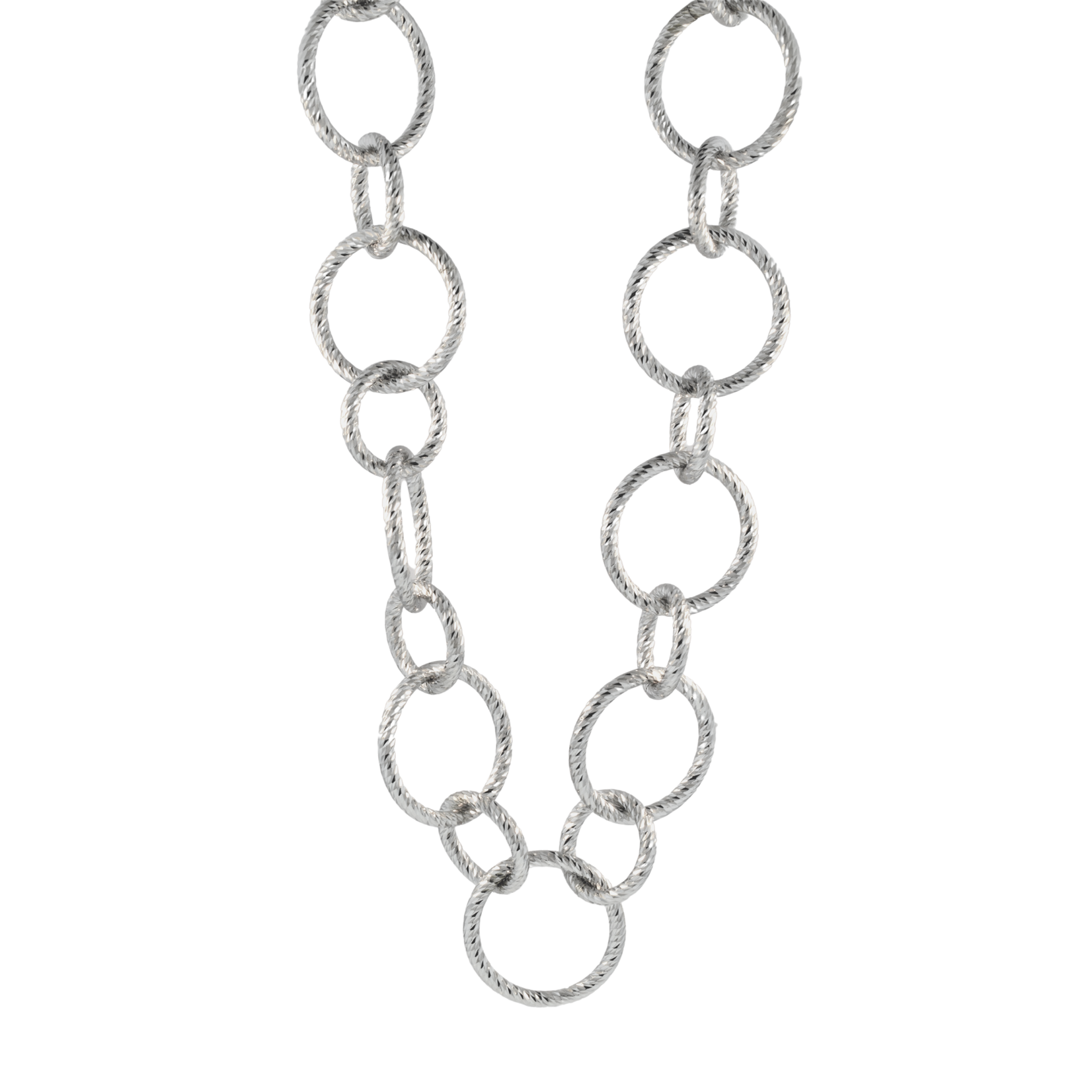 Sterling Silver Sparkle Spiral Circle Necklace