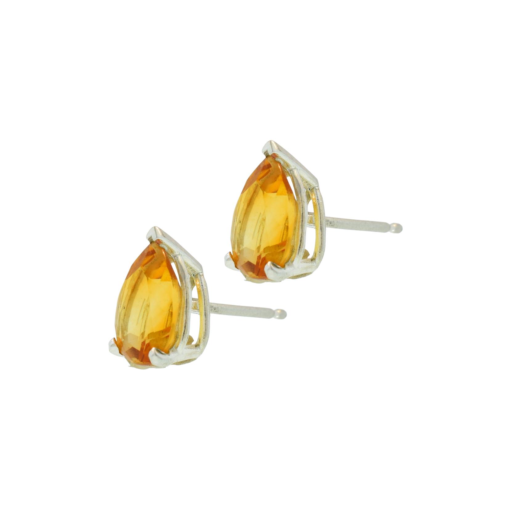Pear Citrine Stud Earrings