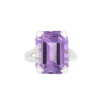 Silver Large Amethyst Ring