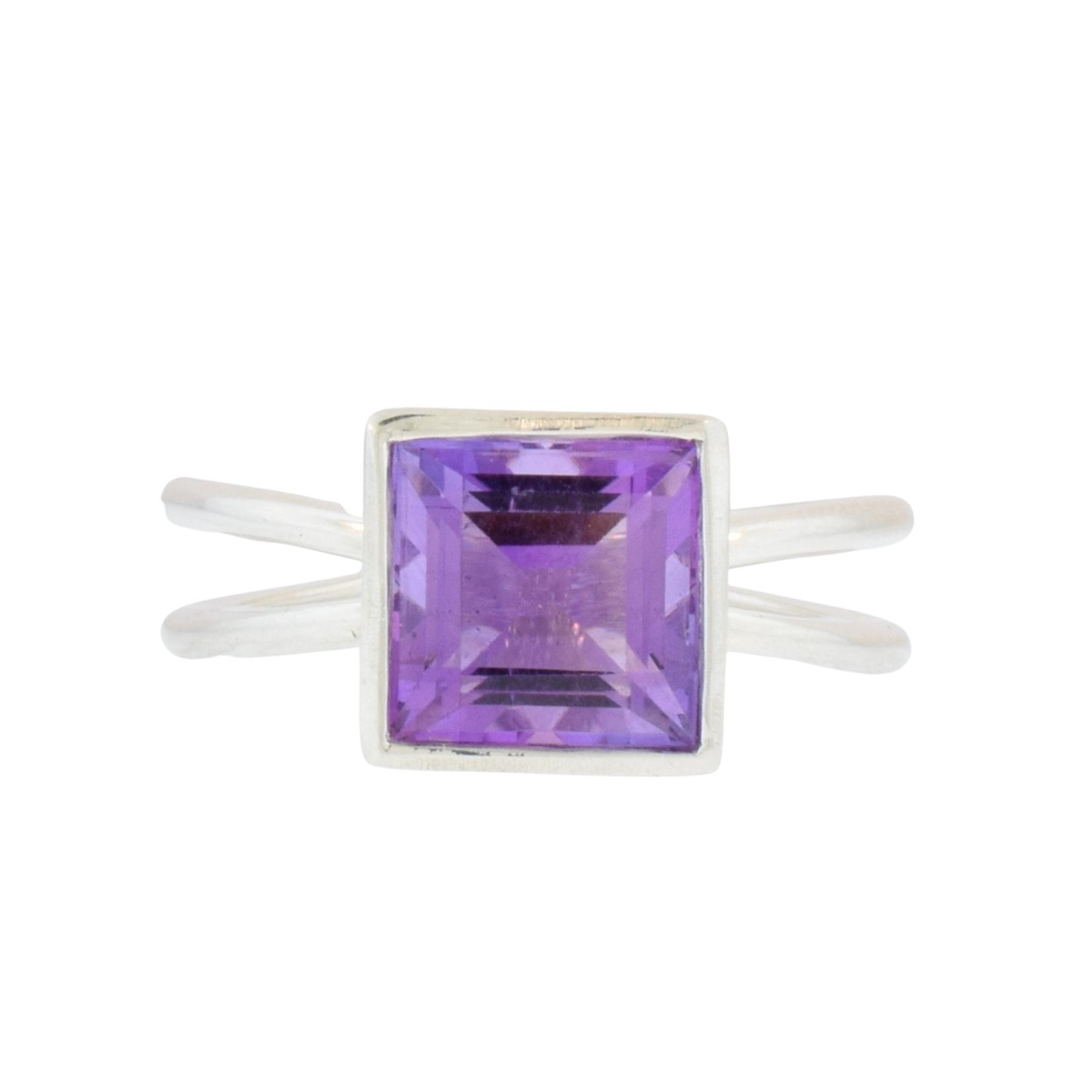 Silver Split-Shank Amethyst Ring