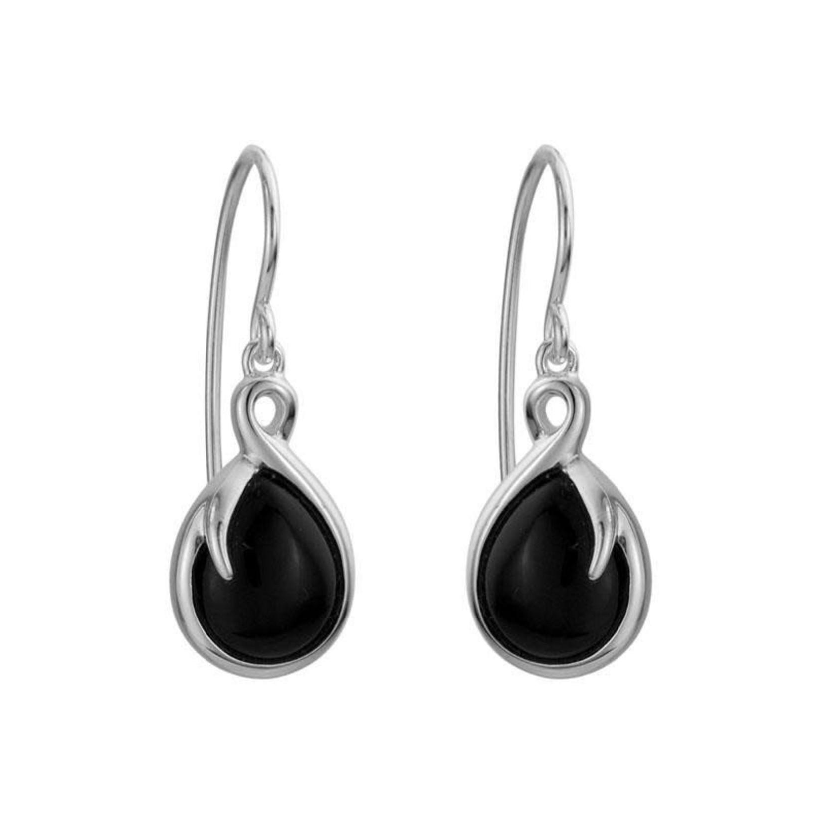 Black Onyx Teardrop Earrings in Silver