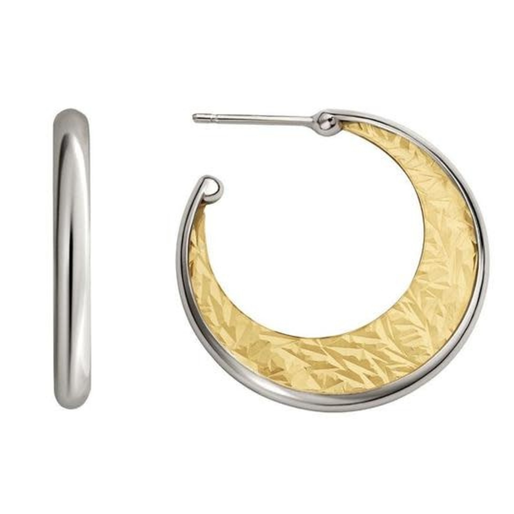 Silver & Gold Plated Crescent Hoops