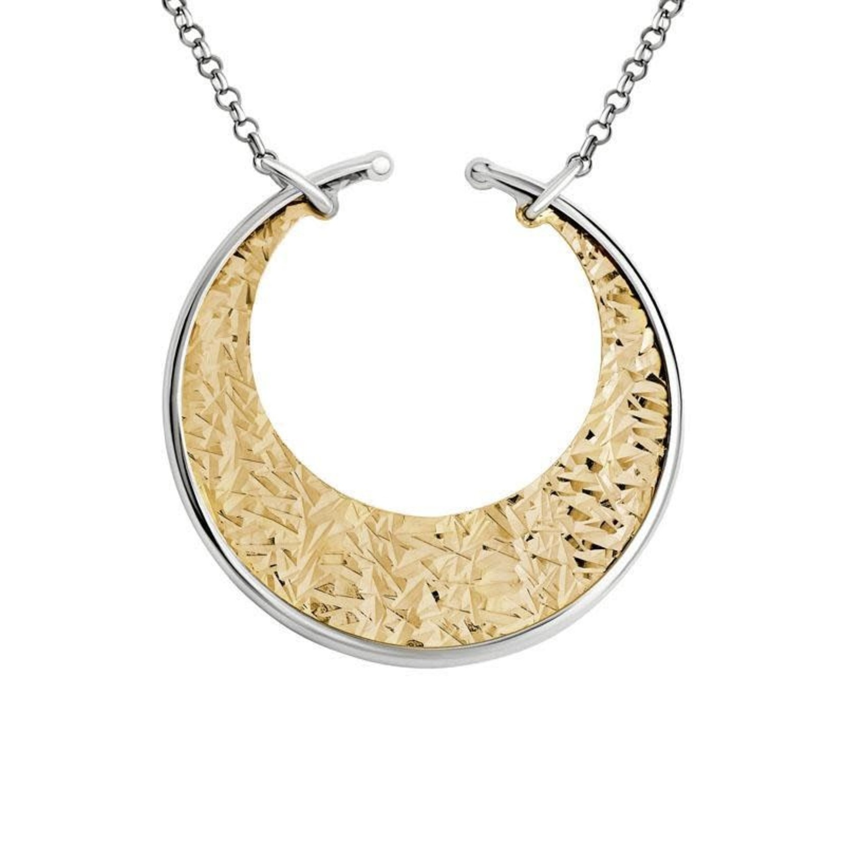 Silver & Gold Plated Crescent Pendant Necklace