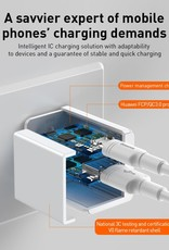 Baseus Travel Charger 18W PPS Fast Charging Type C + USB Power Charger Dual Output | iPhone Samsung CN Plug / White