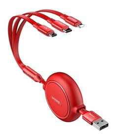 BASEUS Golden Loop 3.5A 1.2m Retractable USB 3-in-1 Lightning + Micro USB + Type-C Elastic Data Cable - Red