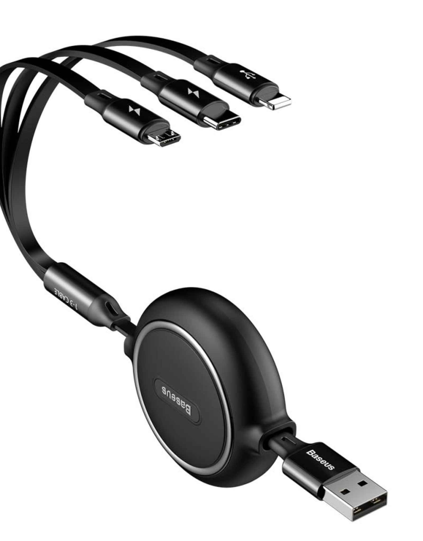 BASEUS Golden Loop 3.5A 1.2m Retractable USB 3-in-1 Lightning + Micro USB + Type-C Elastic Data Cable - Black